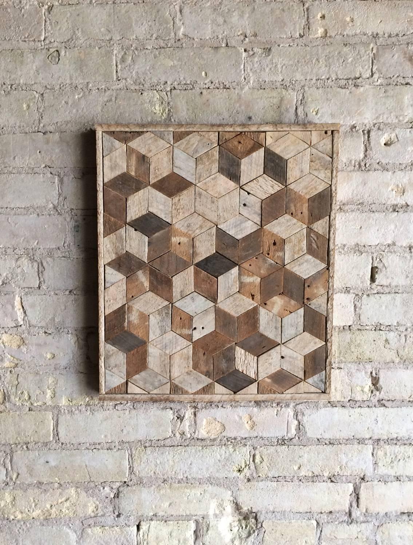 Reclaimed Wood Wall Art, Decor, Pattern, Lath, 3D, Cube, Geometric Regarding Most Recent Cubes 3D Wall Art (View 10 of 20)