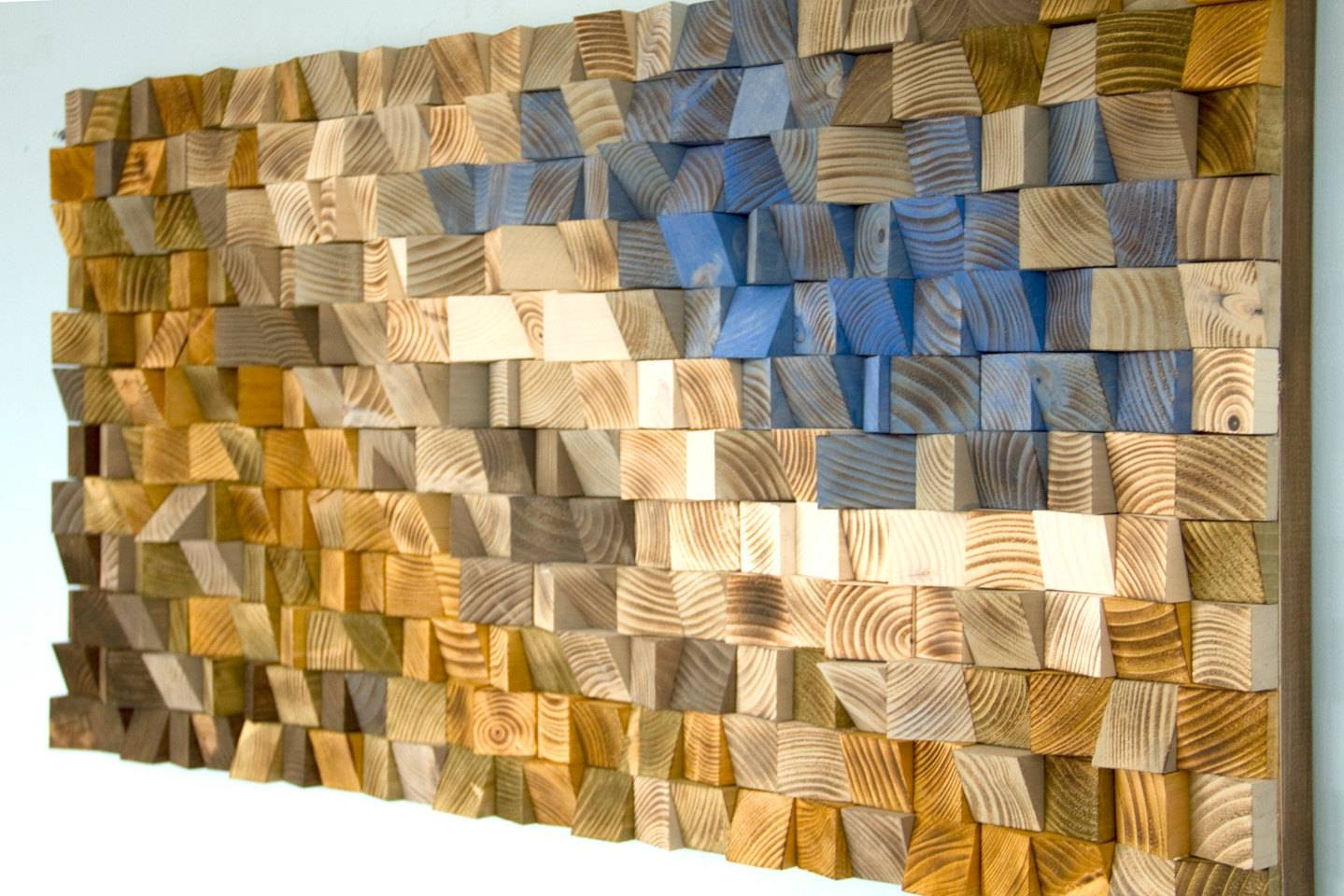 Reclaimed Wood Wall Art, Wood Mosaic, Geometric Art, Wood Wall Art Inside Most Recent Wood Wall Art (Gallery 10 of 25)
