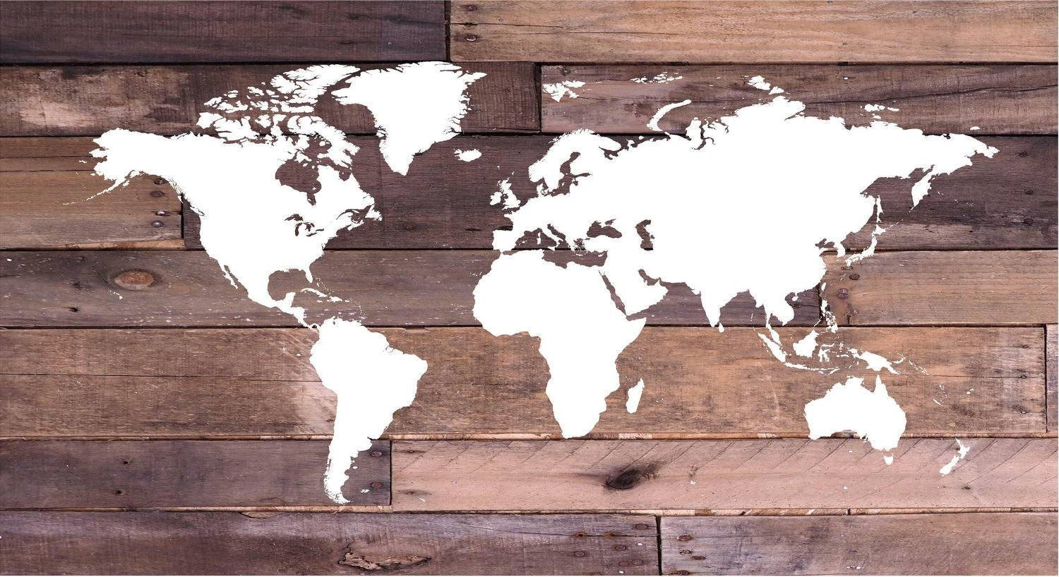 Reclaimed Wood World Map Wall Art Canvas Wall Art, Wood Sign Inside Best And Newest Nautical Canvas Wall Art (View 15 of 20)