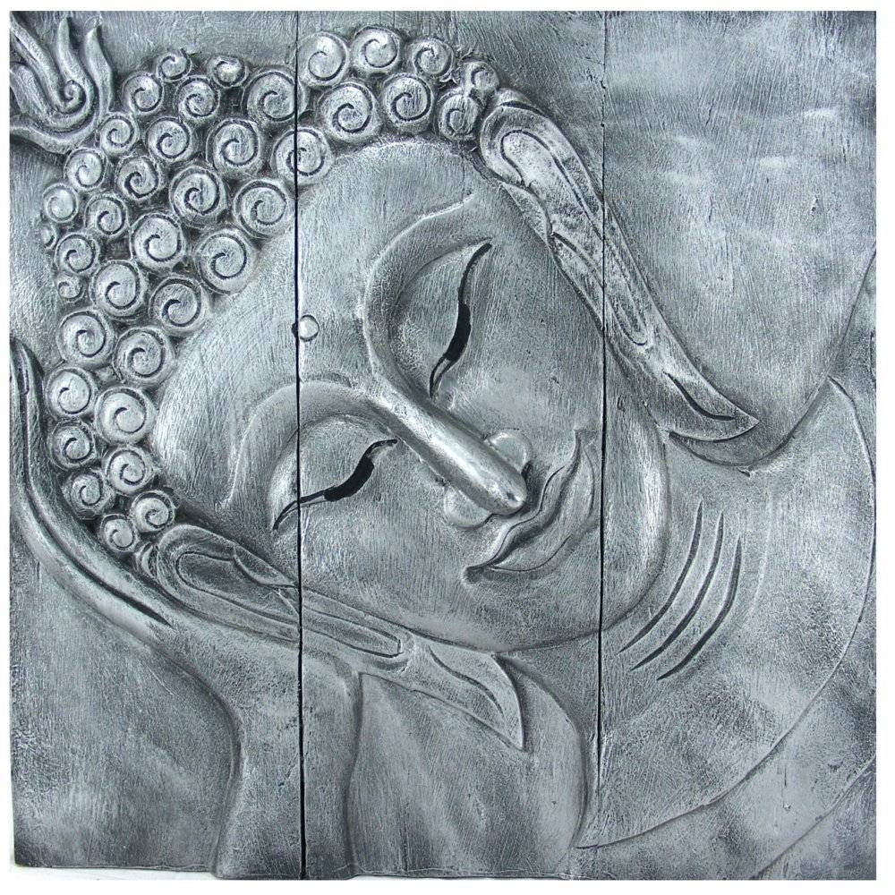 "Reclining Buddha Wall Art 60Cm X 60Cm (24"" X24"") Old Silver Pertaining To 2017 Silver Buddha Wall Art (View 8 of 15)"