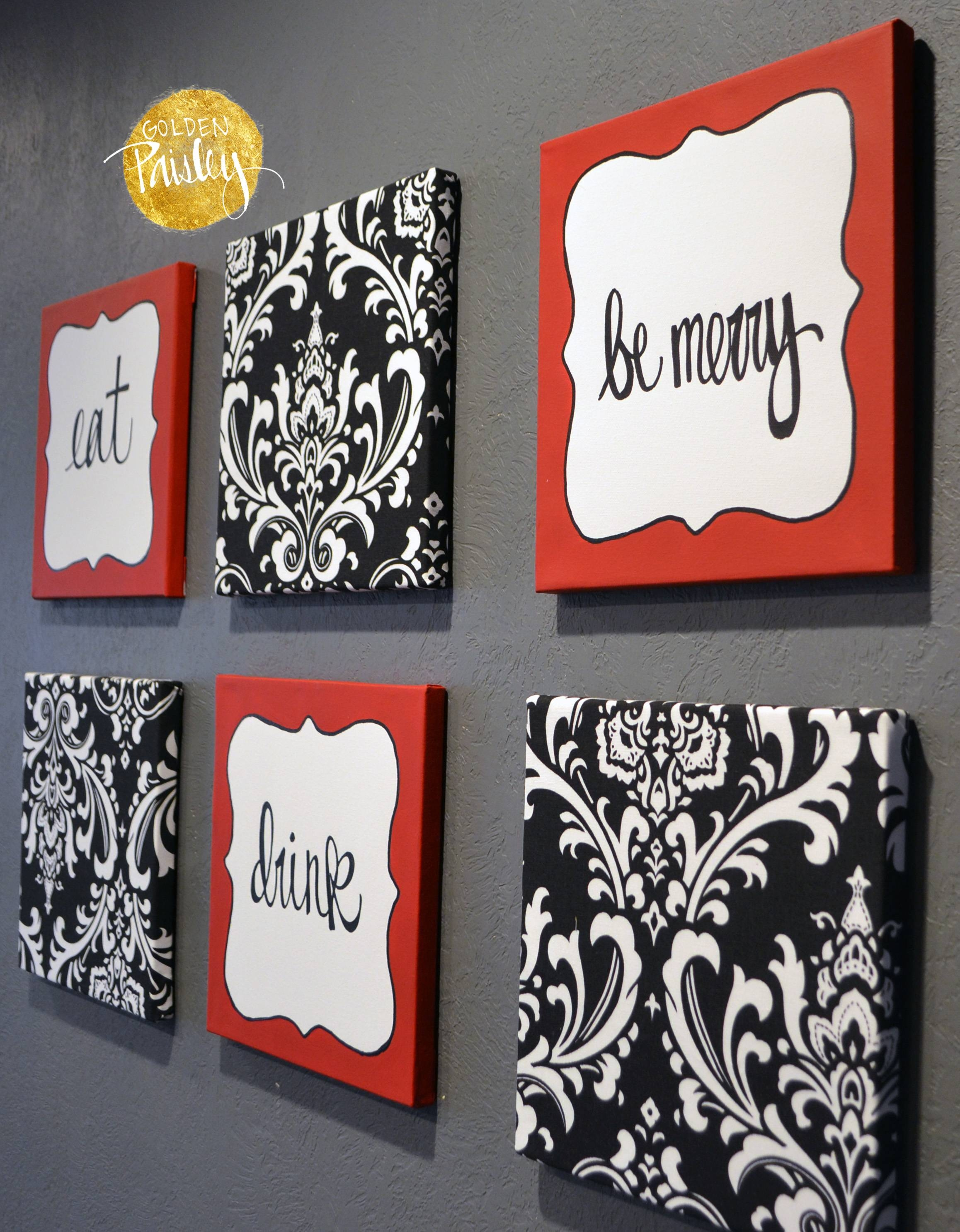 "Red And Black Damask Eat Drink Be Merry ""Chef"" Wall Decor Set With Regard To Newest Black And White Damask Wall Art (View 20 of 30)"