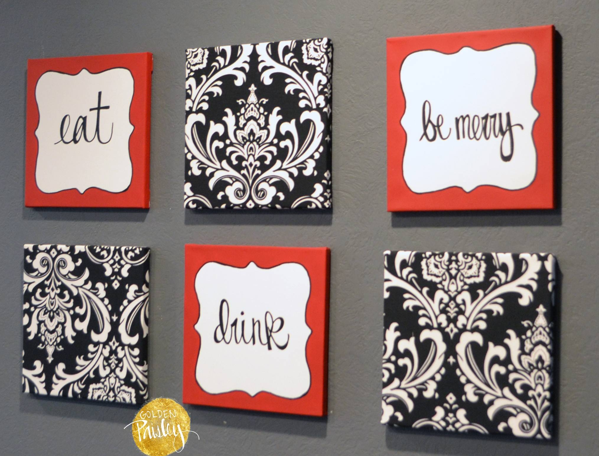 "Red And Black Damask Eat Drink Be Merry ""Chef"" Wall Decor Set Within 2018 Black And White Damask Wall Art (Gallery 12 of 30)"