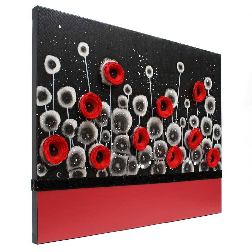 Red And Black Wall Art Poppy Flower Painting Canvas – Small | Amborela Throughout Most Recently Released Red Poppy Canvas Wall Art (View 11 of 20)