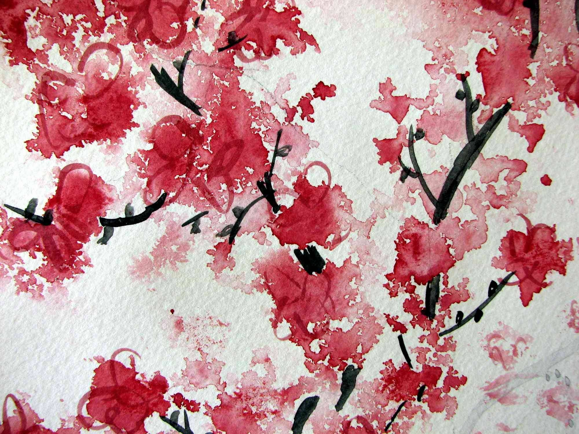 Red Cherry Blossom Painting – Wallpaper (View 12 of 30)