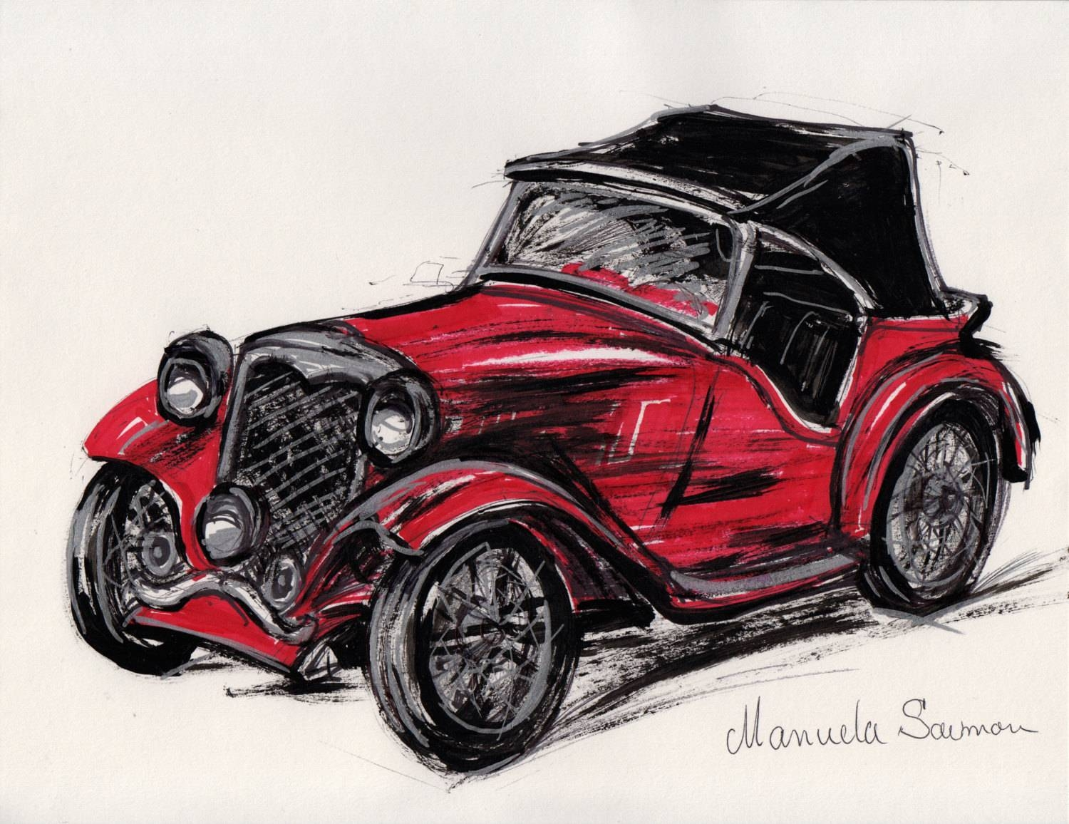 Red Classic Car Illustration 1932 Ford Roadster Retro Art Old Throughout 2018 Classic Car Wall Art (View 12 of 25)