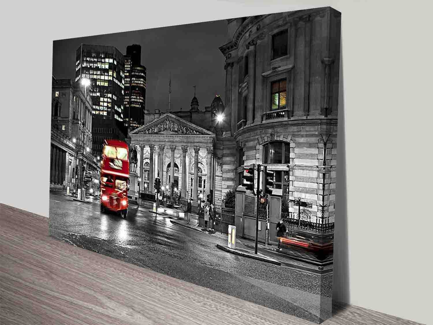 Red Double Decker Bus Black And White City Scene Wall Art Intended For Current London Scene Wall Art (Gallery 8 of 20)