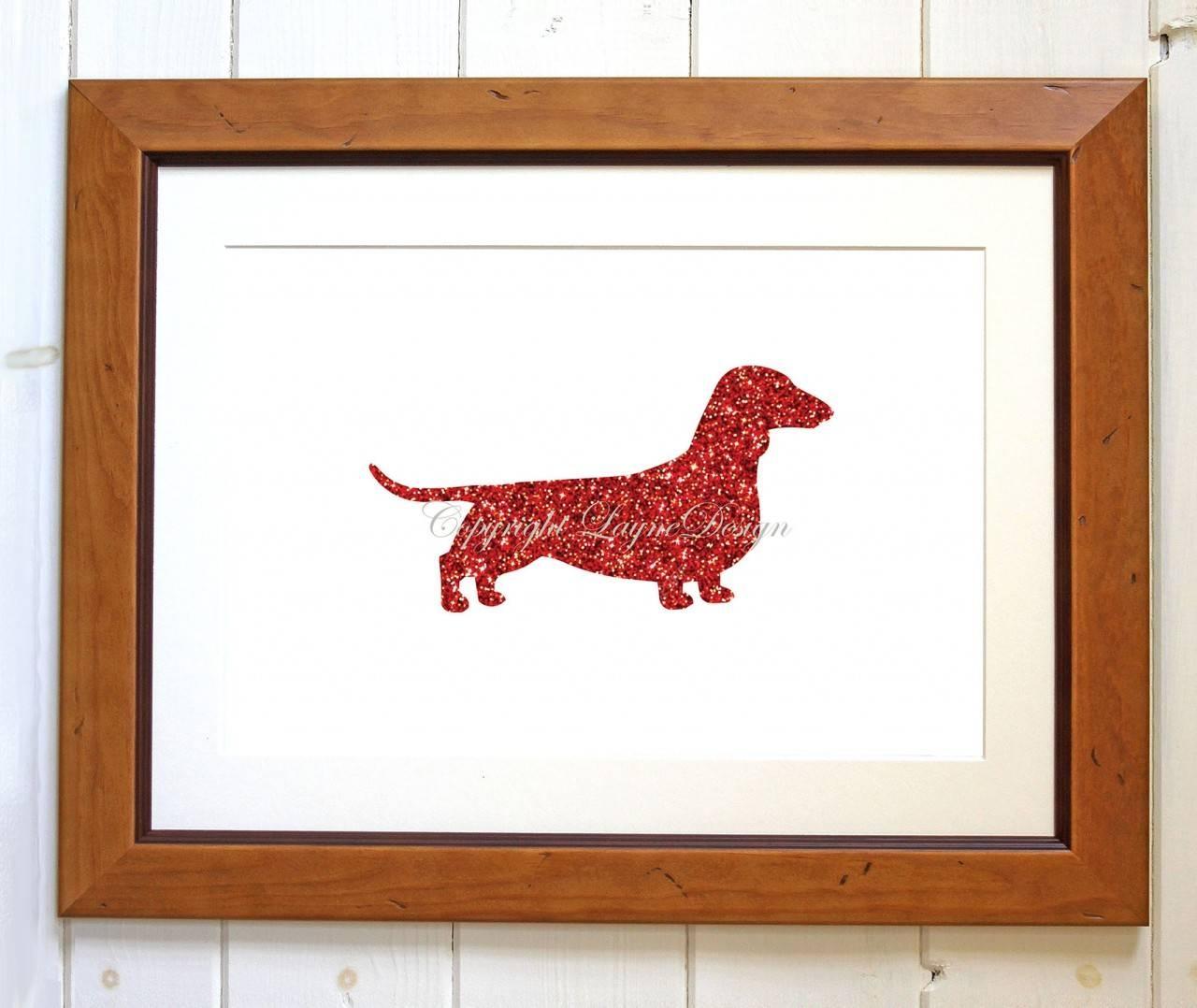Red Glitter Dachshund Instant Download Art Print Wall Art In 2017 Dachshund Wall Art (View 3 of 22)