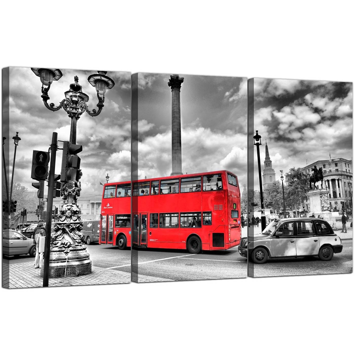 Red London Bus Canvas Prints Set Of 3 For Your Bedroom With Most Popular London Scene Wall Art (Gallery 3 of 20)