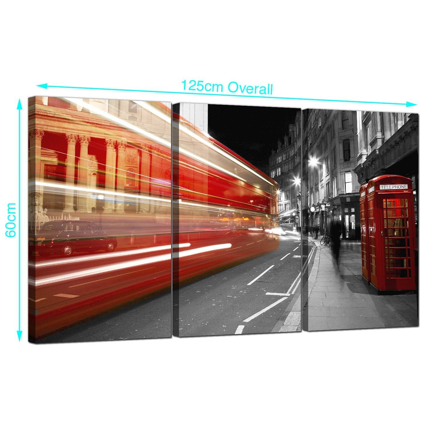 Red London Bus Canvas Prints Uk Set Of 3 For Your Study Within Most Recently Released London Scene Wall Art (View 20 of 20)