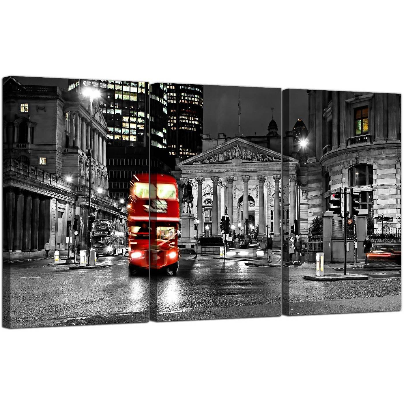 Red London Bus Canvas Wall Art 3 Panel For Your Living Room In Current London Scene Wall Art (Gallery 1 of 20)