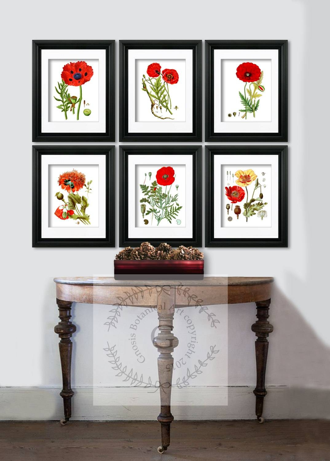 Red Poppy Decor Botanical Prints Red Flowers Poppy Wall Art With Regard To 2017 Wall Art Print Sets (View 7 of 20)