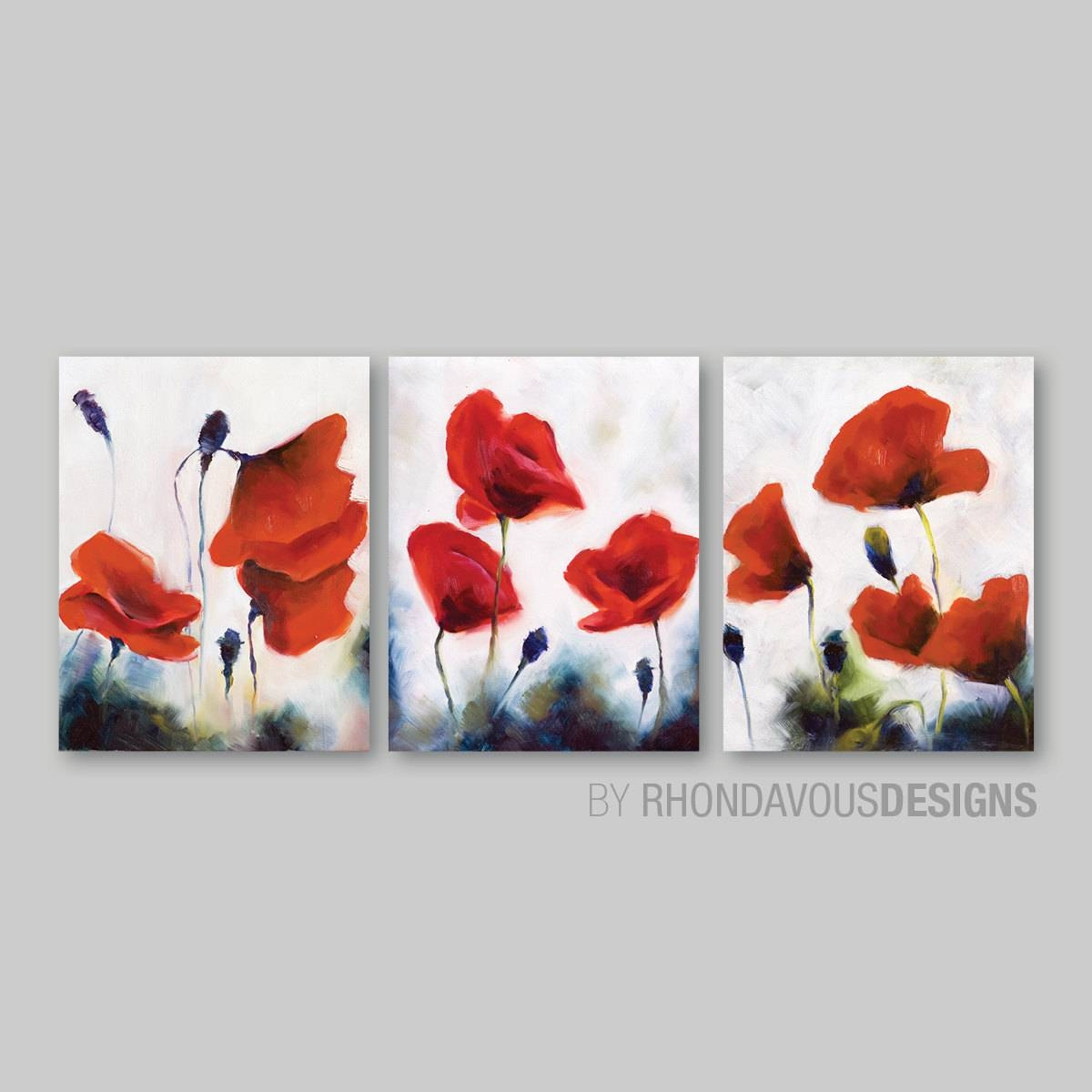 Red Poppy Wall Art. Red Poppy Painting Reprint. Home Decor. Inside Most Recent Red Poppy Canvas Wall Art (Gallery 7 of 20)
