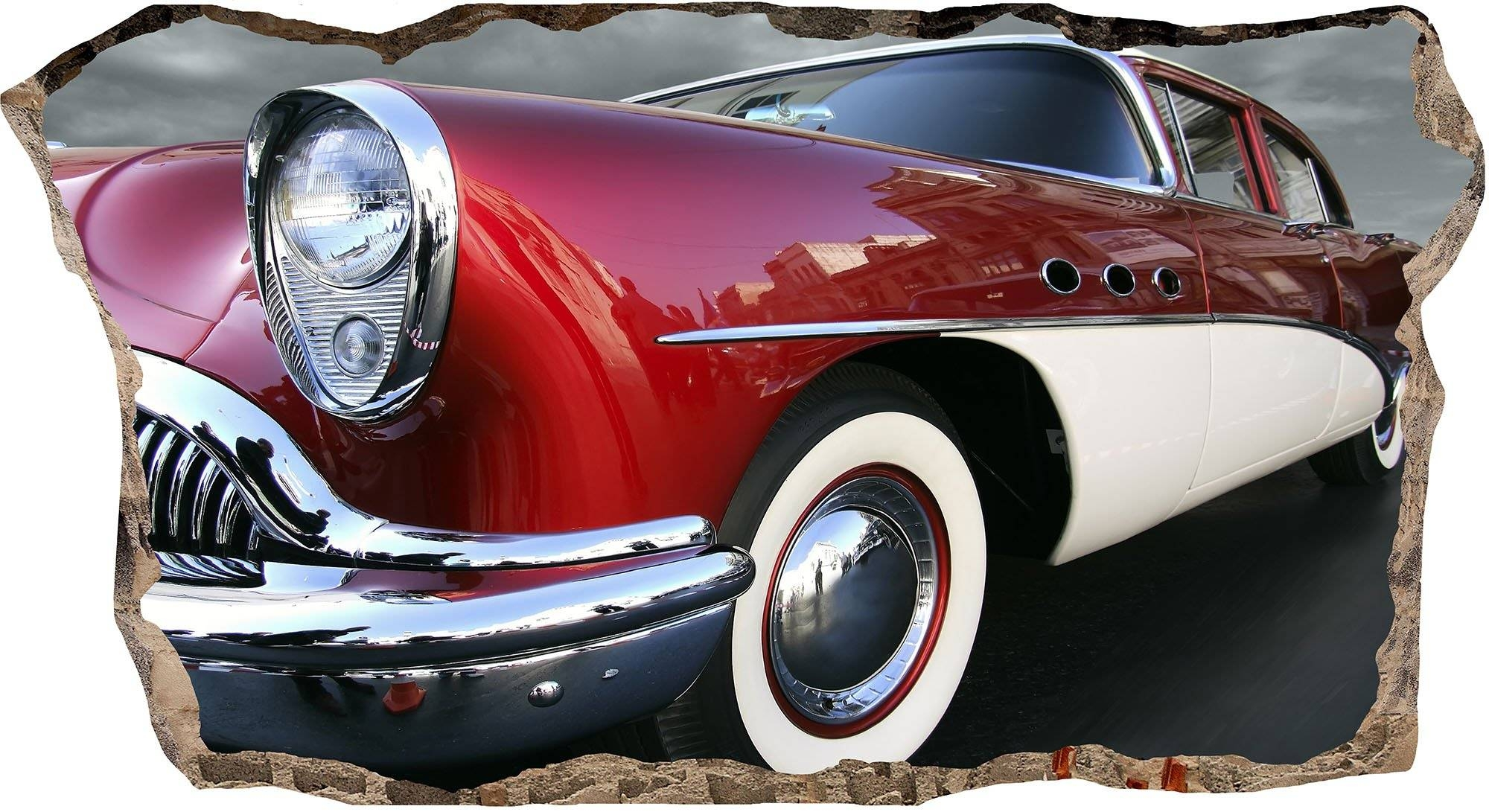 Red Retro Car Startonight How To Install 3D Mural Wall Art For Best And Newest Cars 3D Wall Art (View 12 of 20)