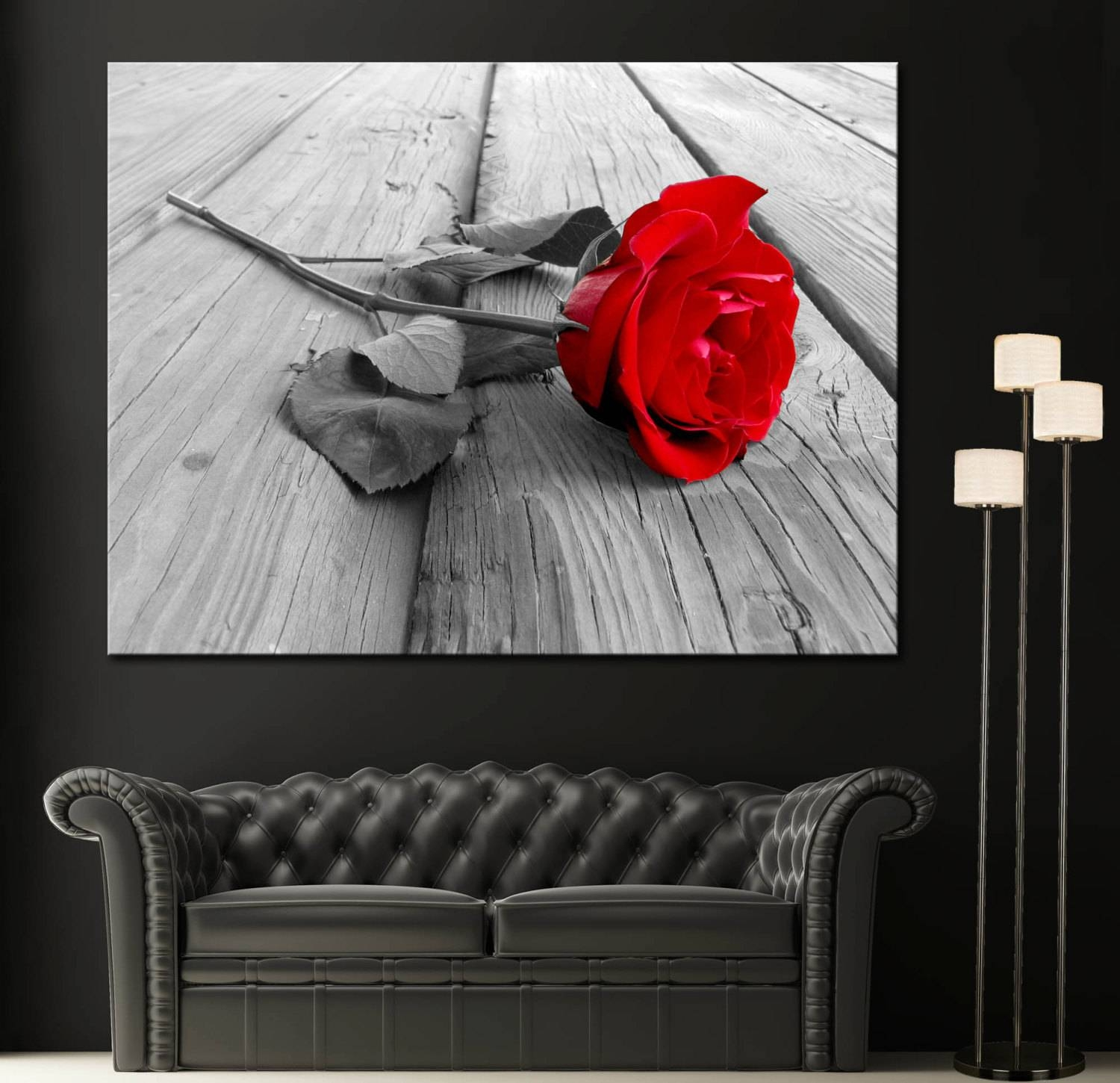 Red Rose Modern Home Fine Black White Wall Art Canvas Giclee Inside 2017 Red Rose Wall Art (View 9 of 20)