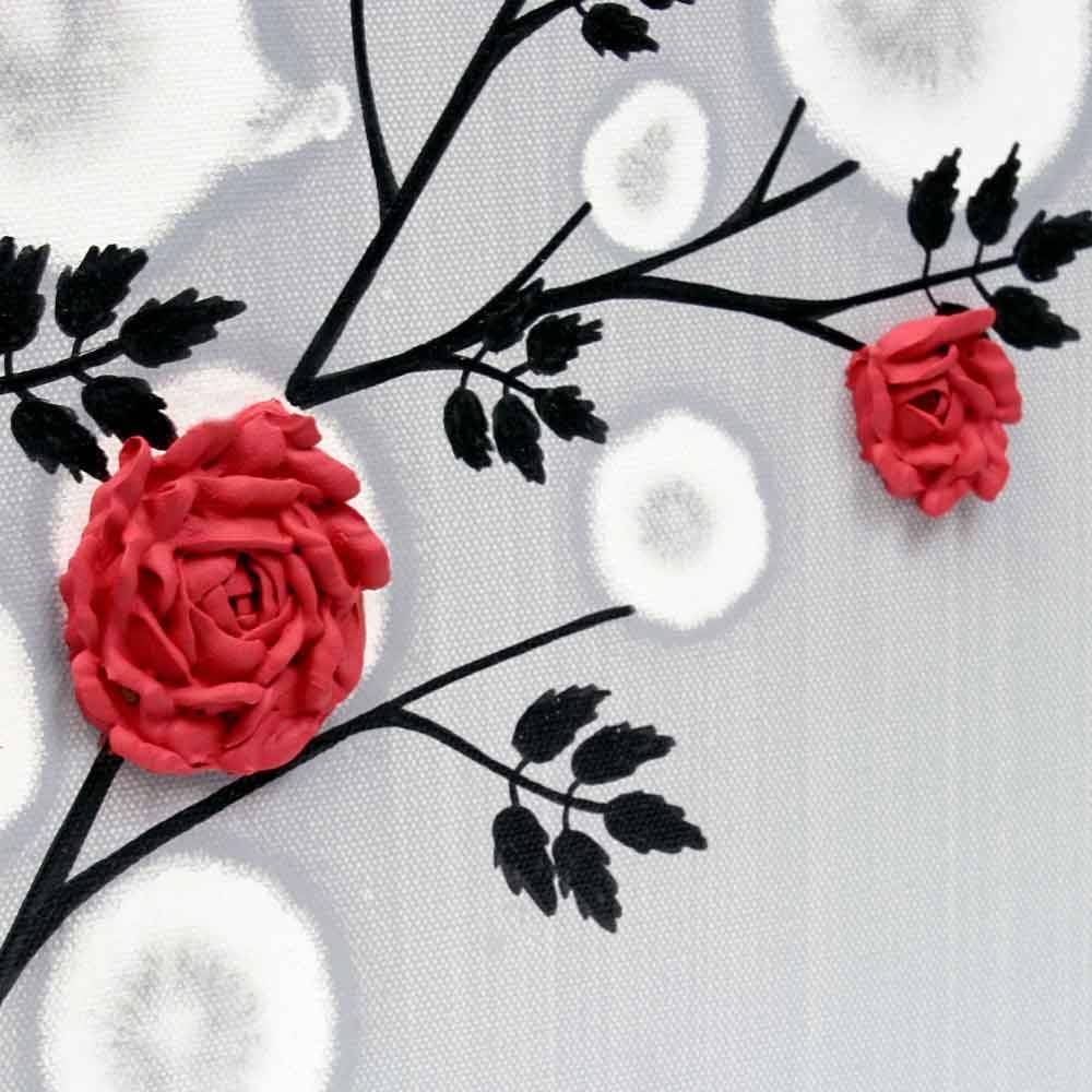 Red Rose Wall Art Painting On Gray And Black Canvas – Small | Amborela Inside Current Red Rose Wall Art (View 10 of 20)