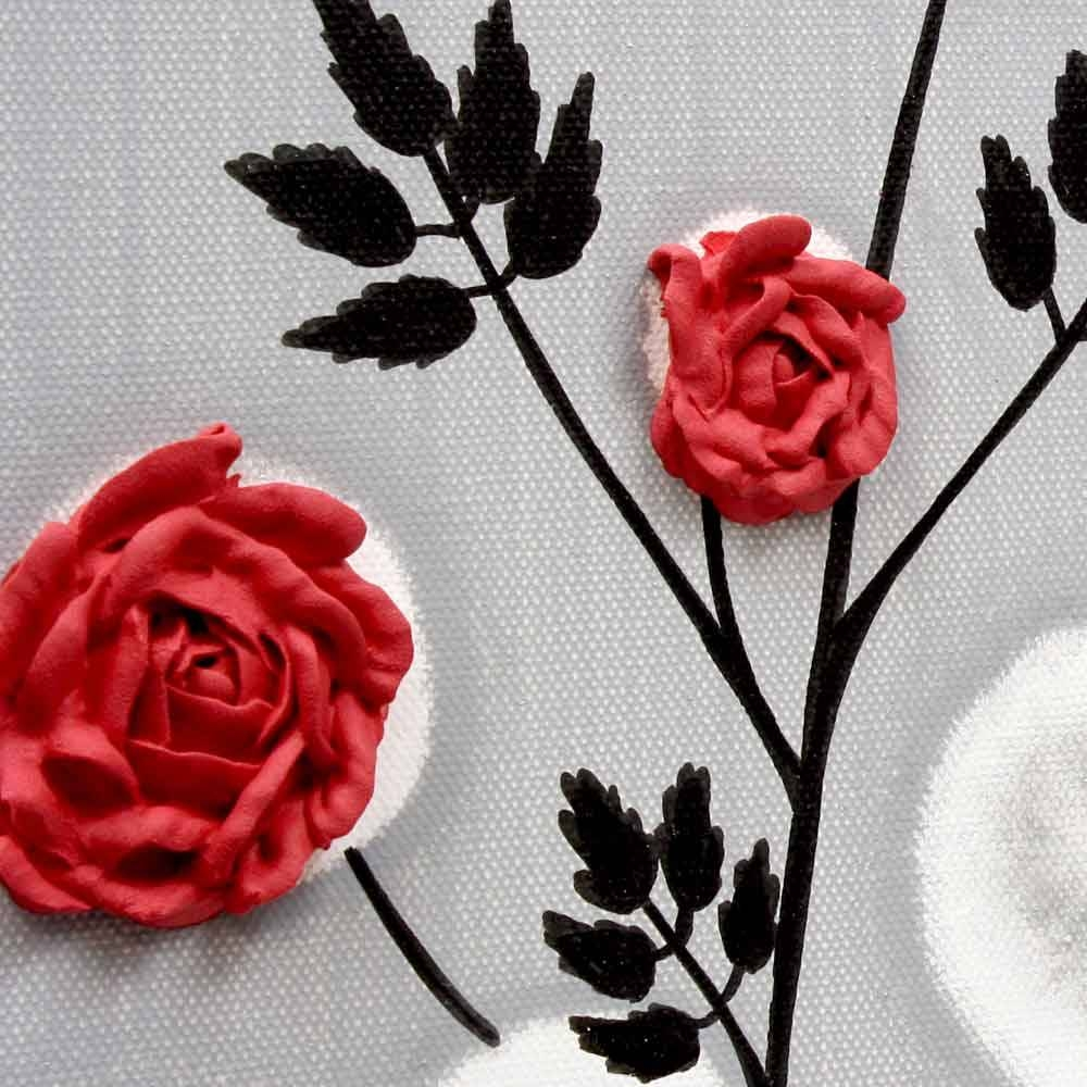 Red Rose Wall Art Painting On Gray And Black Canvas – Small   Amborela Inside Most Up To Date Red Rose Wall Art (View 11 of 20)