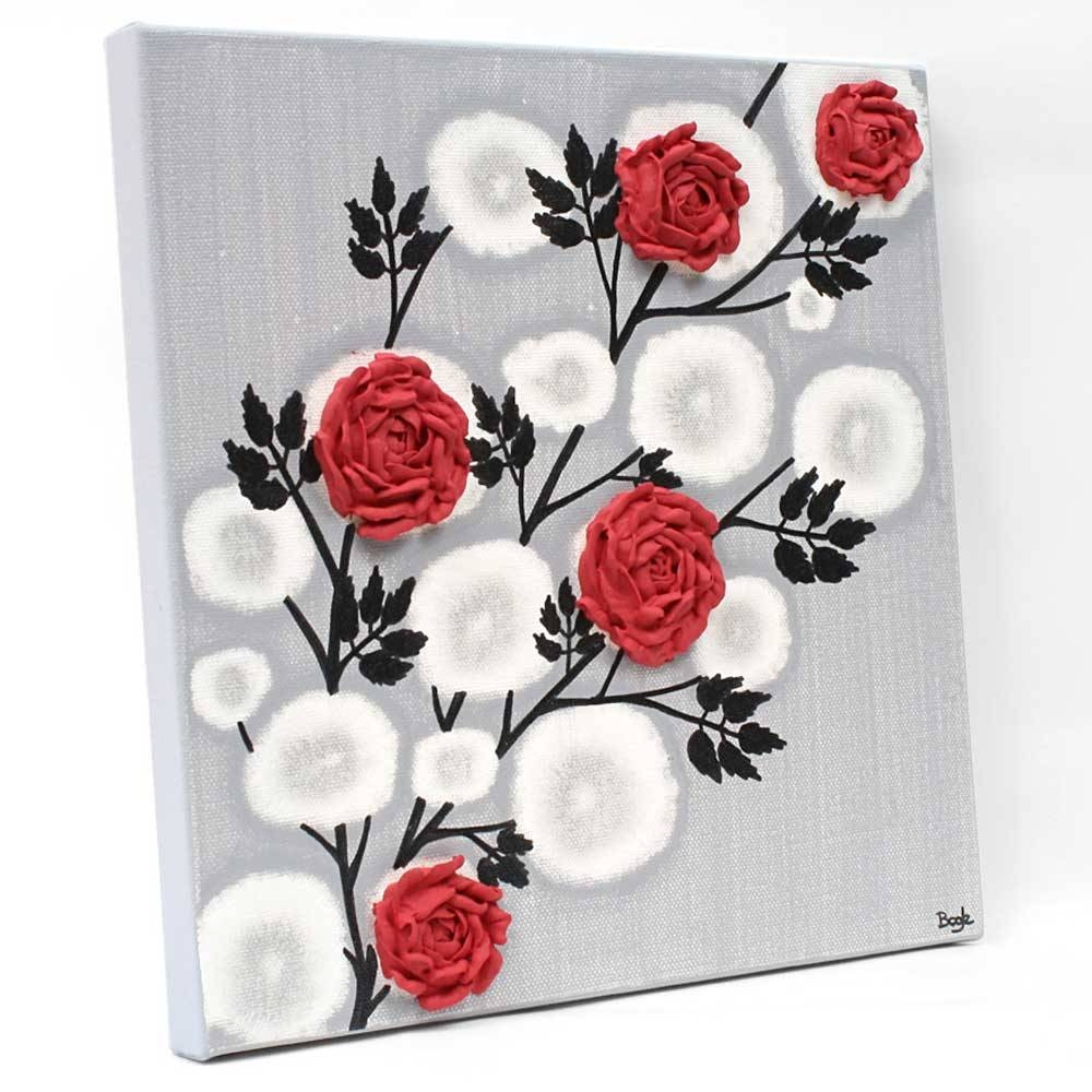 Red Rose Wall Art Painting On Gray And Black Canvas – Small | Amborela With 2017 Red Rose Wall Art (View 9 of 20)