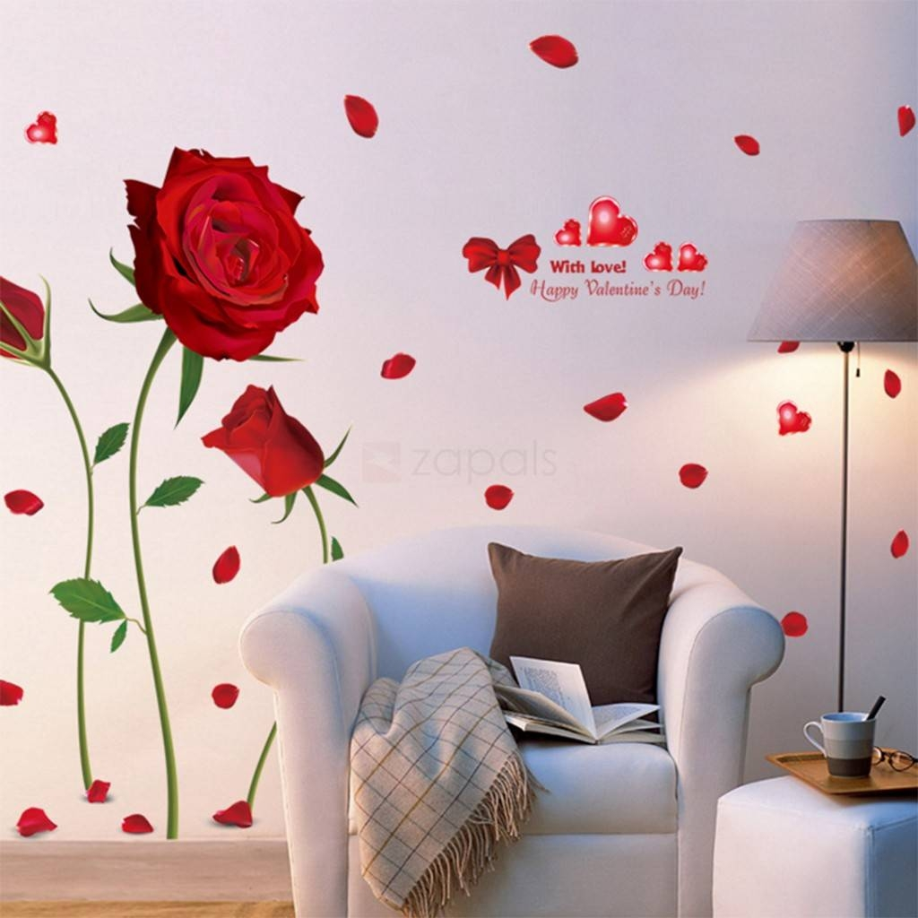 Red Rose Wall Stickers Living Room Bedroom Wall Art Decals With Newest Red Rose Wall Art (Gallery 19 of 20)
