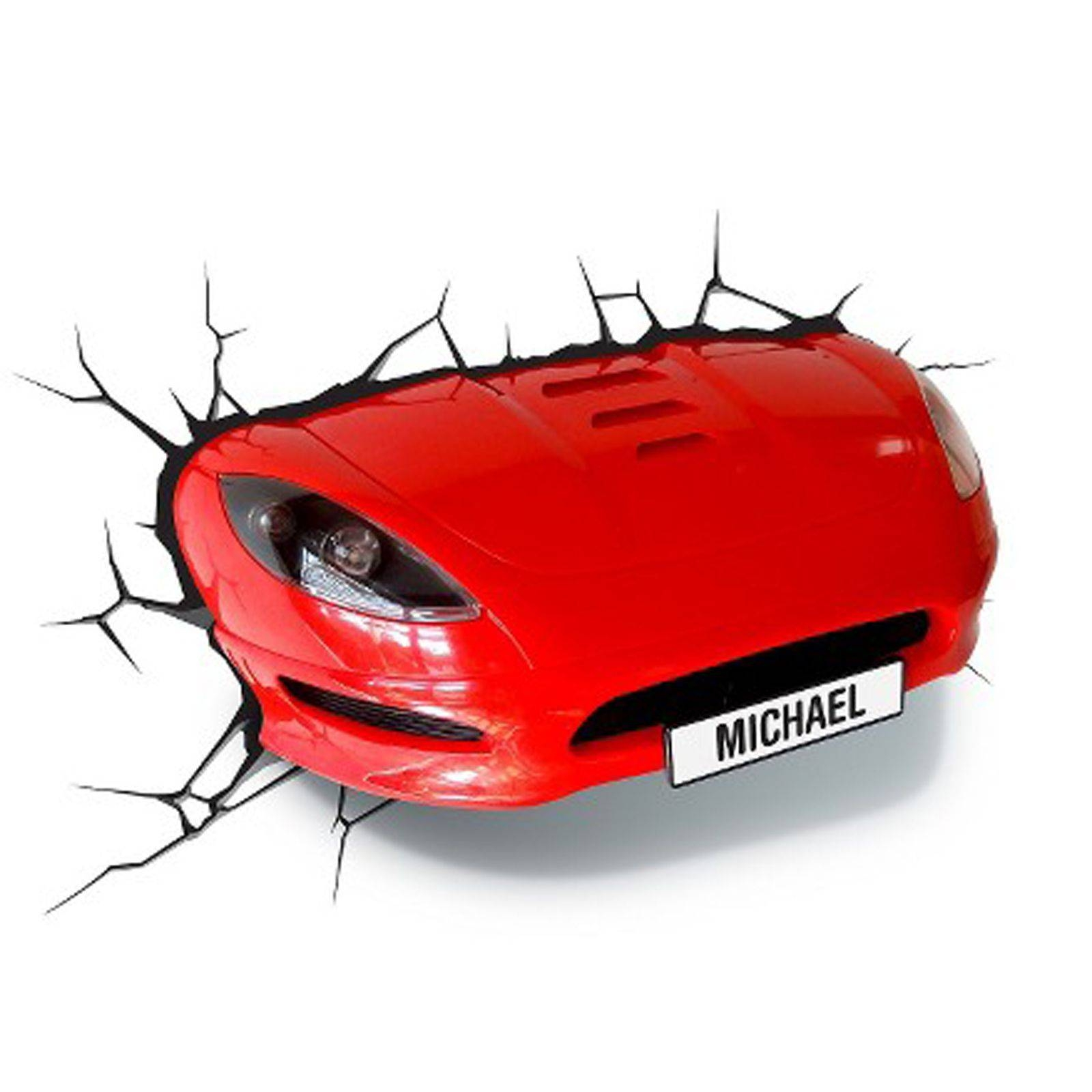 Red Sports Car 3D Effect Wall Light Lamp New Bedroom Decor | Ebay With Regard To Latest Cars 3D Wall Art (View 19 of 20)