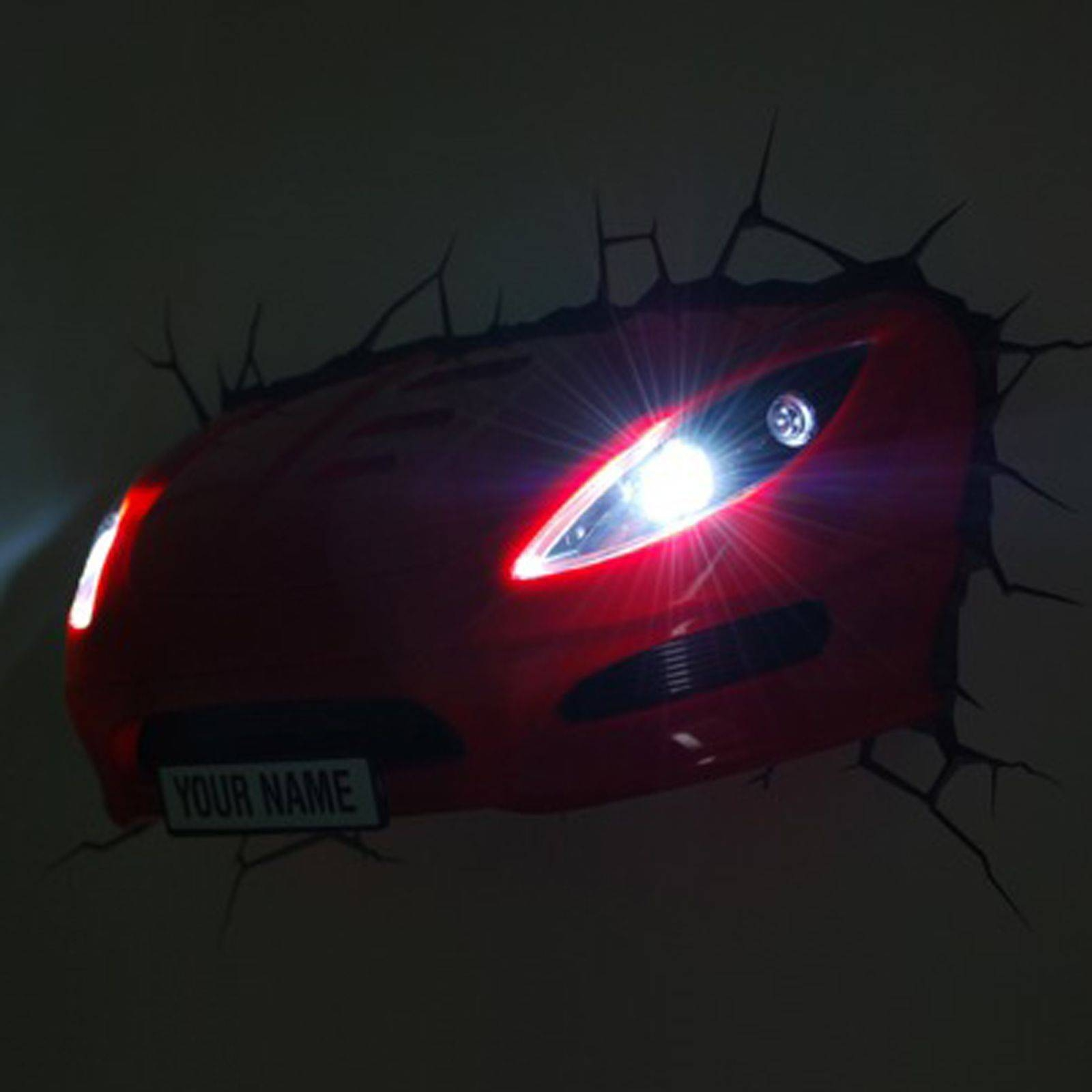 Red Sports Car 3D Effect Wall Light Lamp New Led Bedroom Decor | Ebay Inside 2018 Cars 3D Wall Art (View 20 of 20)