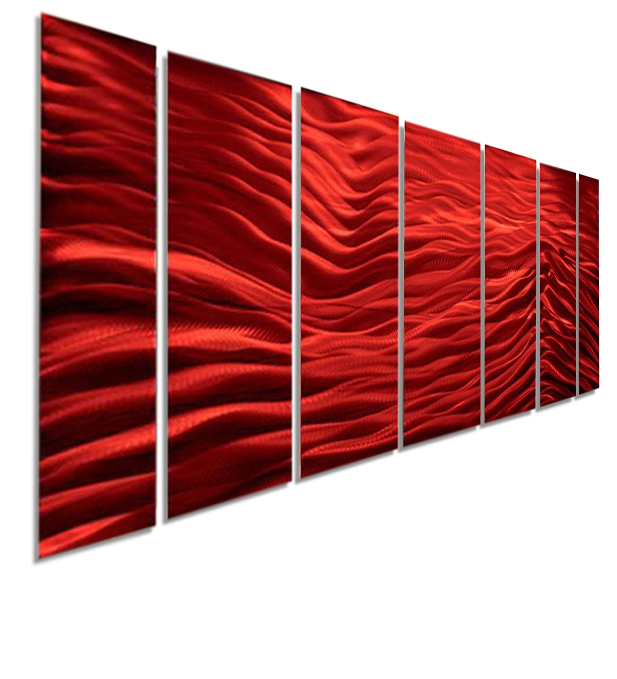 Red Wave Ii Xl – Extra Large Modern Contemporary Metal Wall Art Intended For Most Current Large Triptych Wall Art (Gallery 20 of 20)