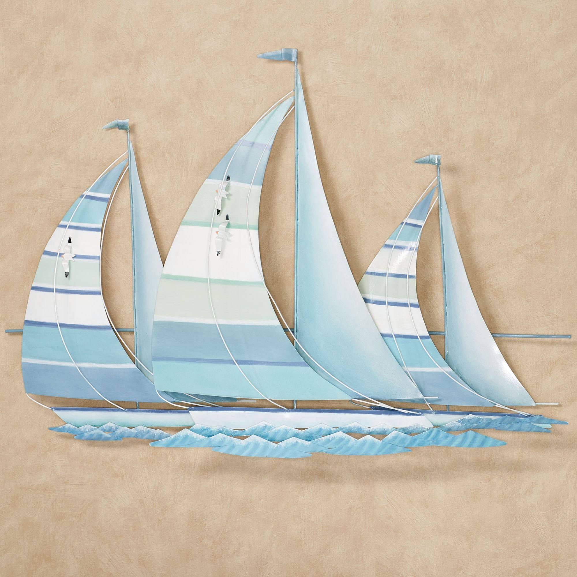 Regatta Finish Line Blue Green Metal Sailboat Wall Sculpture With 2018 Metal Sailboat Wall Art (View 19 of 30)