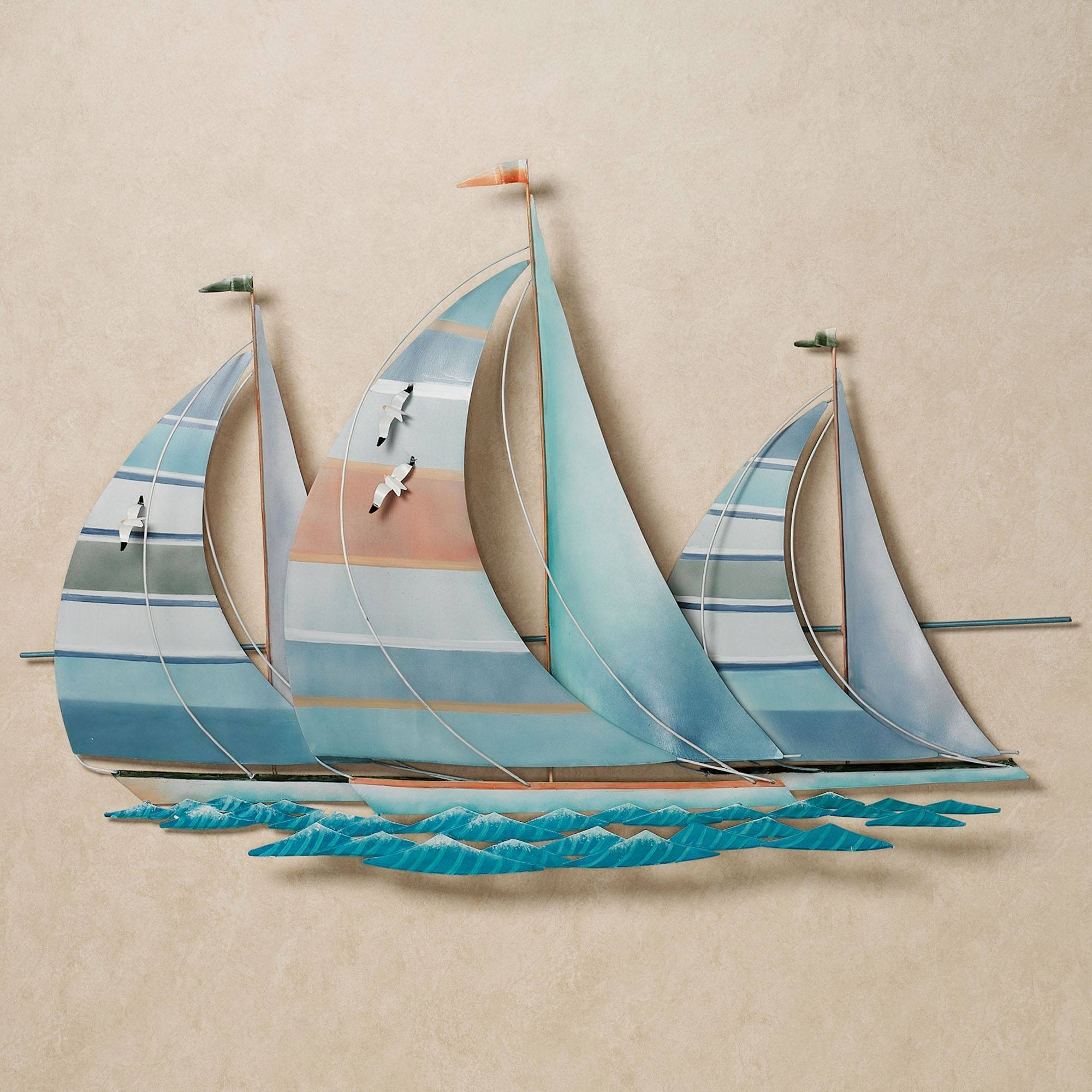 Regatta Finish Line Multi Cool Metal Sailboat Wall Sculpture For Current Metal Sailboat Wall Art (Gallery 3 of 30)