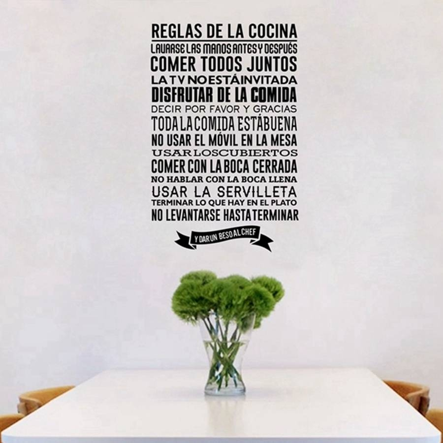 Reglas De La Cocina Wall Stickers , Removable Wall Art Decals For Pertaining To Best And Newest Cucina Wall Art Decors (View 7 of 25)