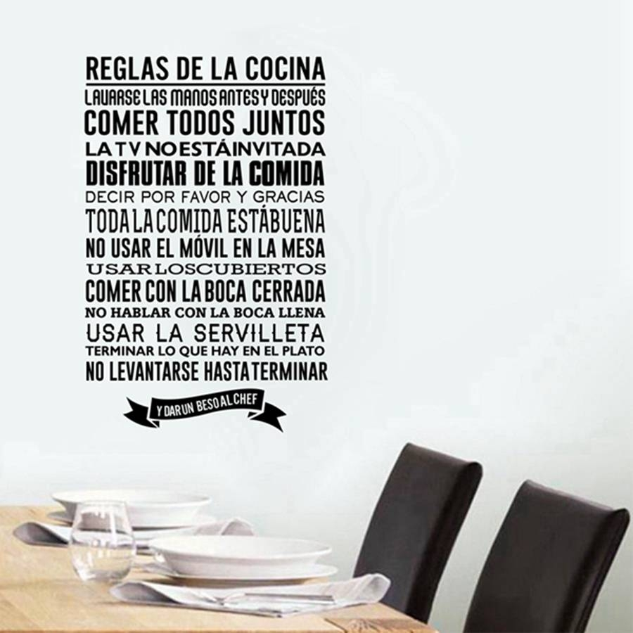 Reglas De La Cocina Wall Stickers , Removable Wall Art Decals For Regarding Current Cucina Wall Art Decors (View 16 of 25)