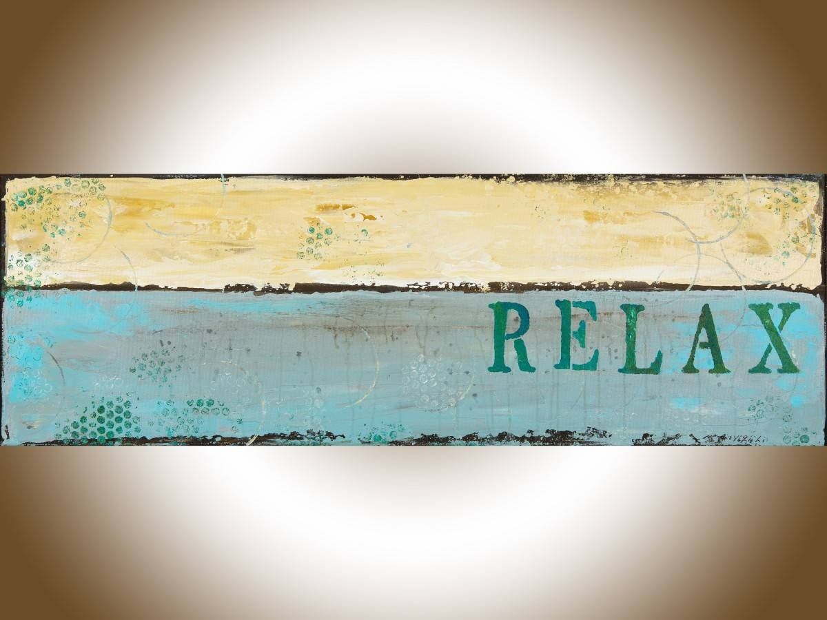 "Relax 2Qiqigallery 36""x12"" Modern Abstract Painting Abstract Intended For Current Turquoise And Brown Wall Art (Gallery 23 of 25)"