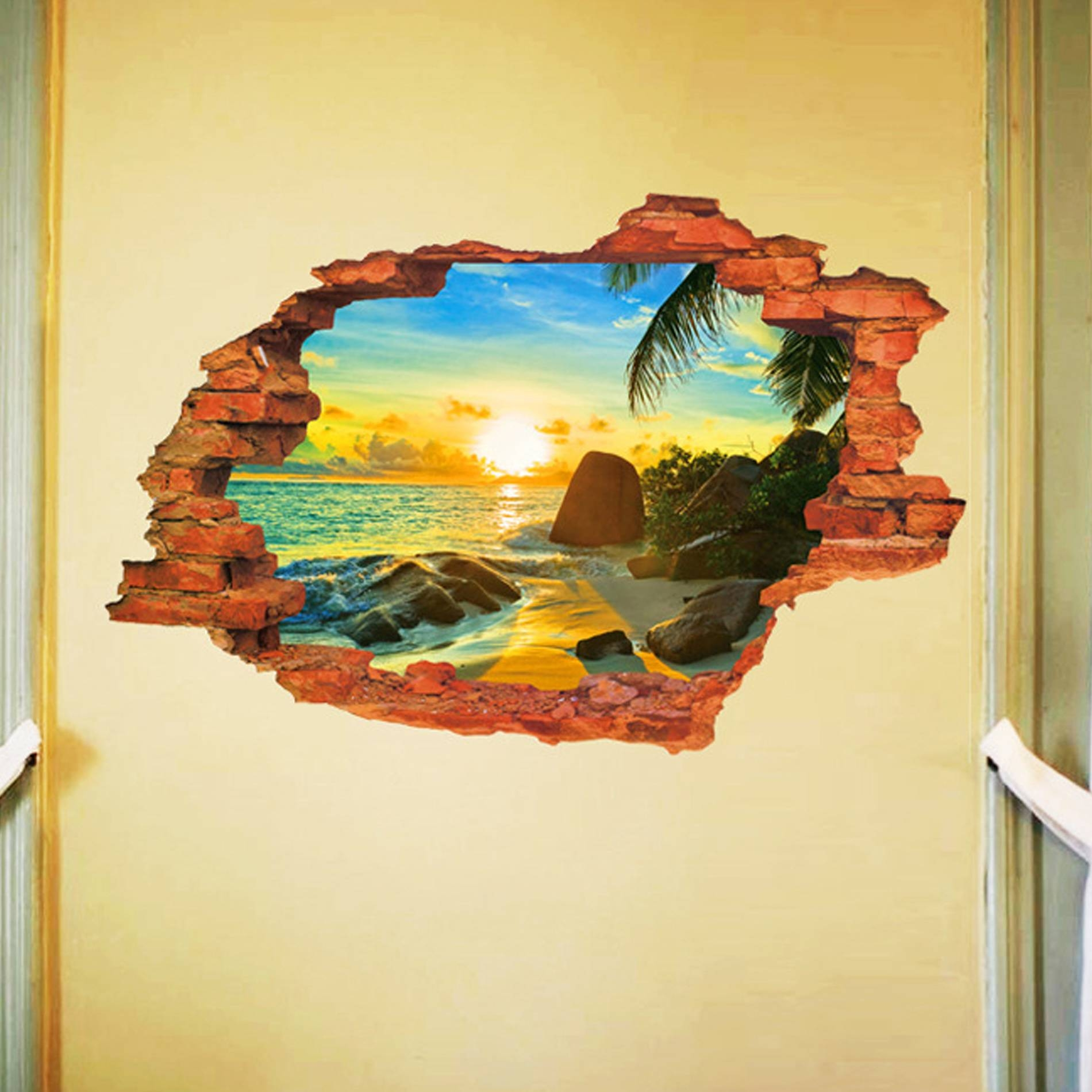 Removable 3d Broken Wall Stickers Art Vinyl Mural Home Decor + Key For Latest Vinyl 3d Wall Art (View 5 of 20)