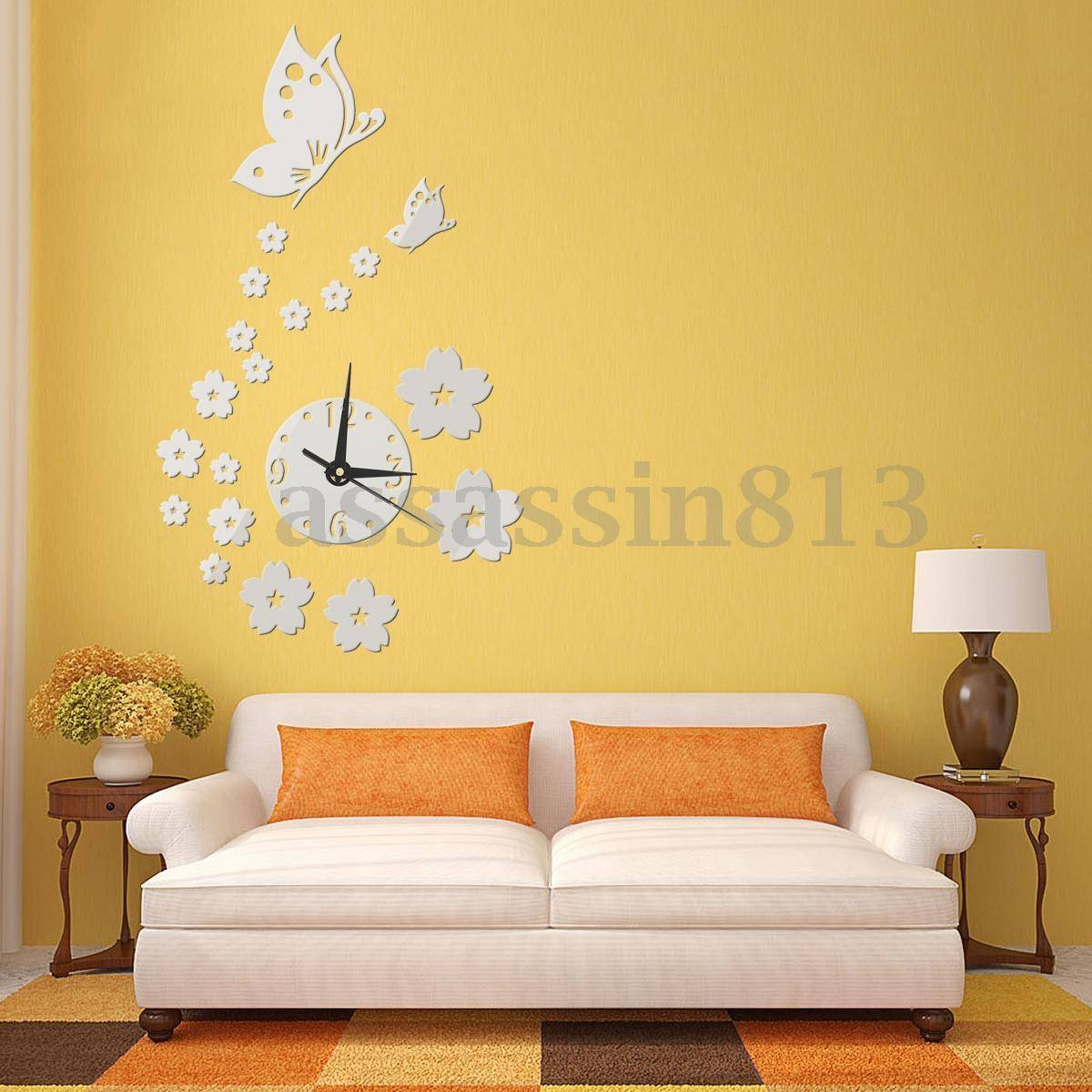 Removable Butterfly Wall Clock Diy 3D Sticker Home Office Room Within Recent 3D Removable Butterfly Wall Art Stickers (Gallery 16 of 20)