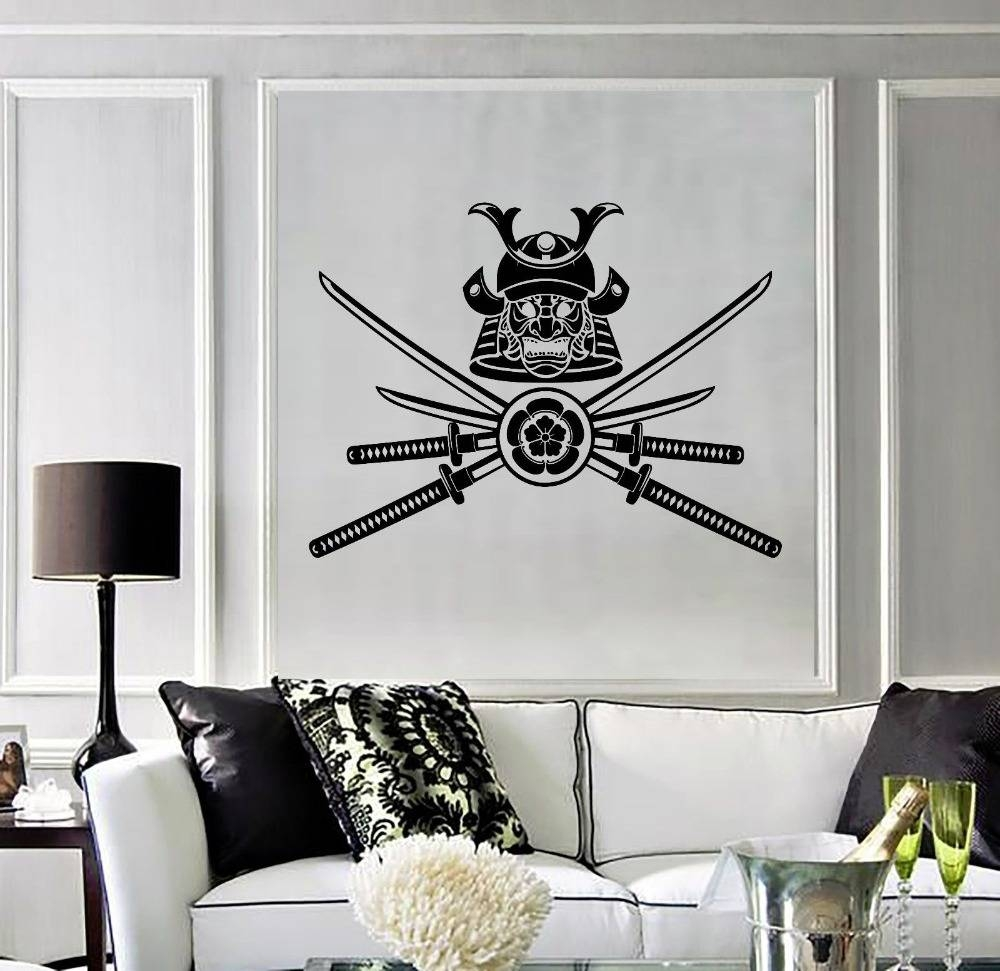 Removable Home Vinyl Decal Samurai Warrior Japanese Mask Wall Inside Best And Newest Samurai Wall Art (Gallery 7 of 20)