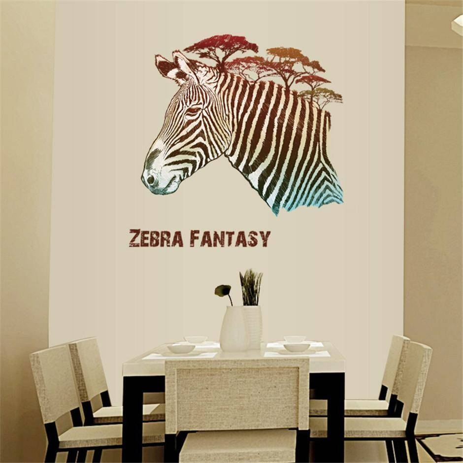 Removable Vinyl Creative Zebra Fantasy Wall Stickers For Living Intended For Most Current Zebra 3D Wall Art (Gallery 5 of 20)