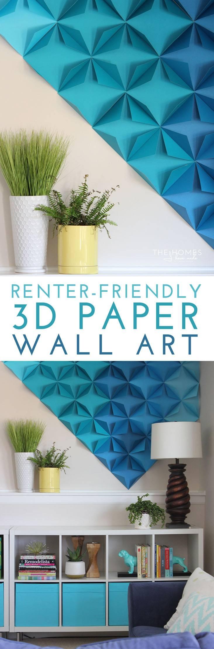 Renter Friendly 3D Paper Wall Art Throughout Current 3D Paper Wall Art (View 20 of 25)