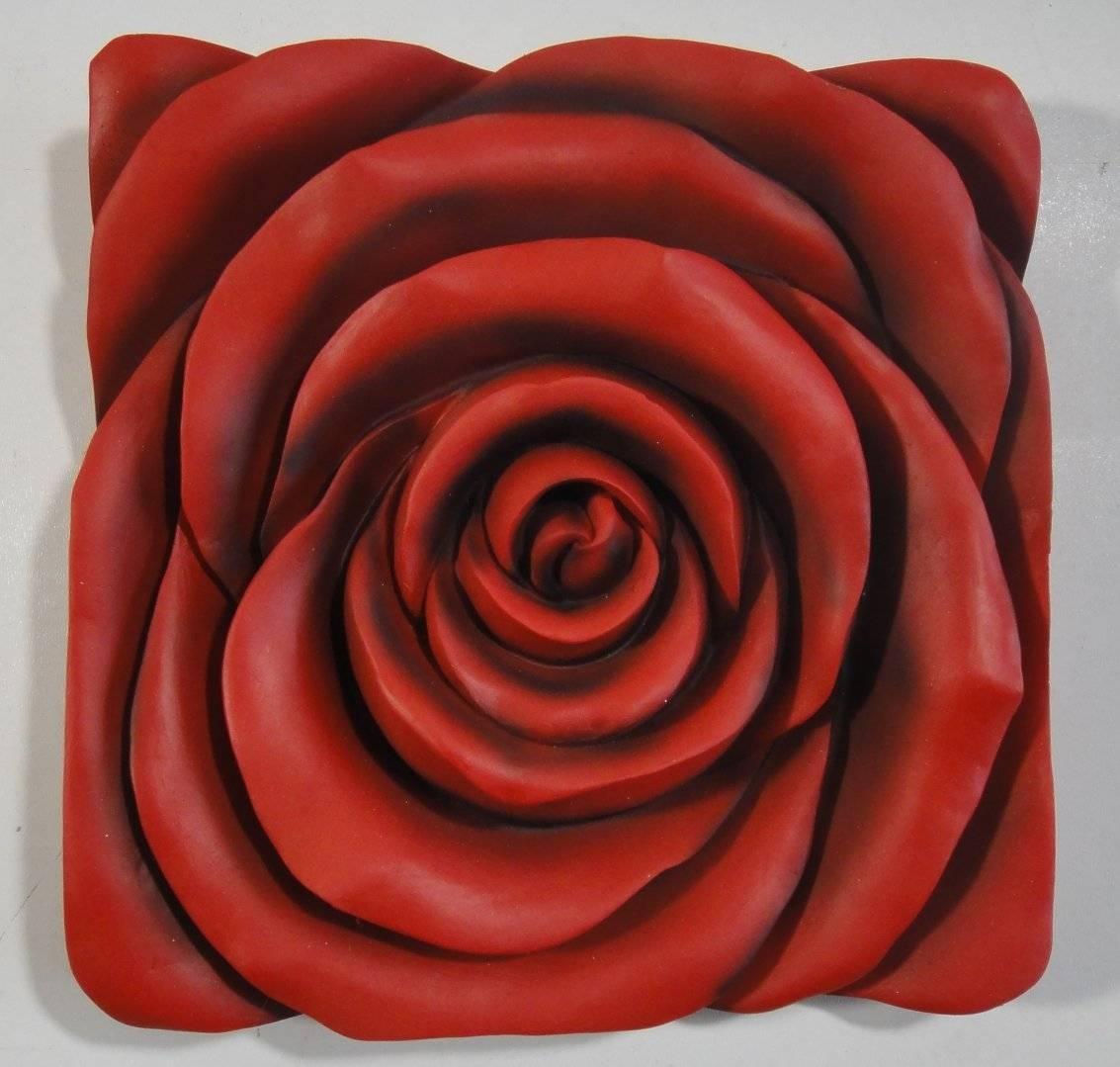 Resin Wall Art – Red Rose Square Panel With 2018 Red Rose Wall Art (Gallery 6 of 20)