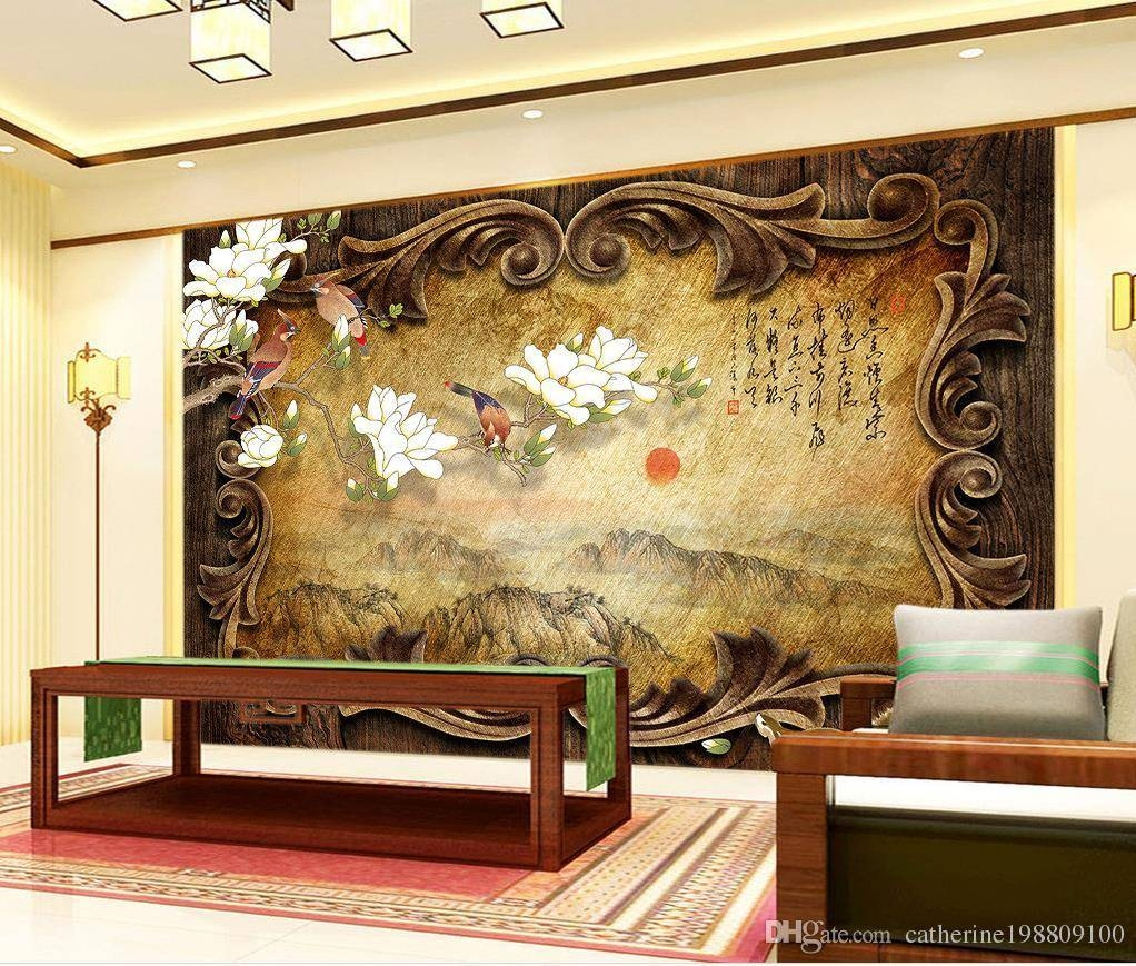 Retro Classical Wooden Frame Landscape Painting Chinese Tv Inside Newest 3d Wall Art Wallpaper (View 17 of 20)