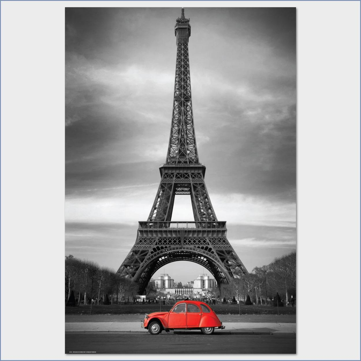 Retro Red And The Eiffel Toweranon Art Poster Large Size Inside Latest Eiffel Tower Metal Wall Art (View 20 of 30)