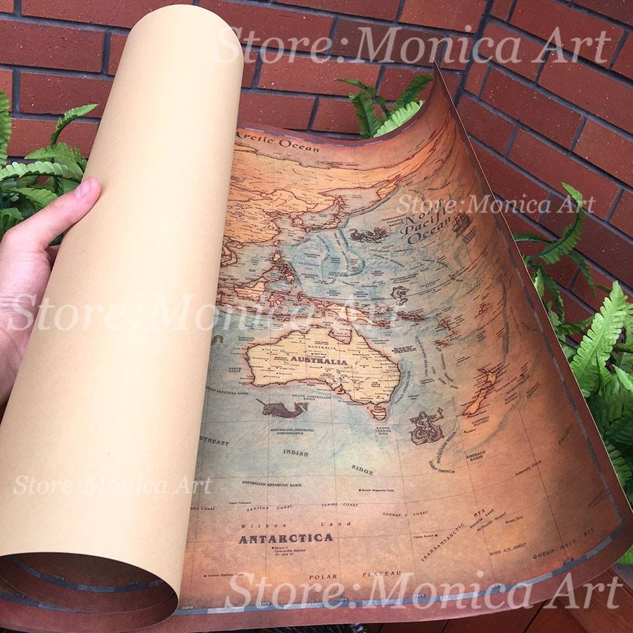 Retro World Map Kraft Paper Paint Vintage Wall Sticker Poster In Most Recently Released Large Retro Wall Art (View 17 of 25)