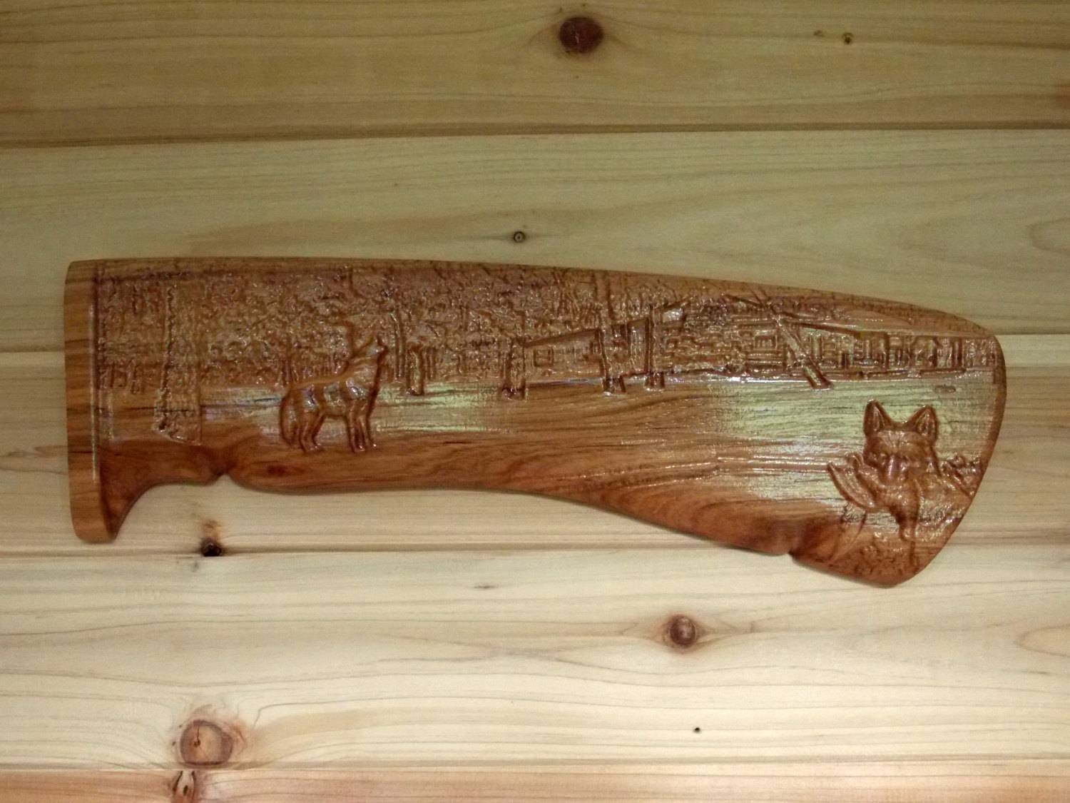 Rifle Handle Wolf Wood Carving Gift For Hunter Gift For Pertaining To Newest Natural Wood Wall Art (View 13 of 20)
