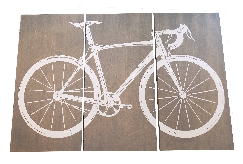Road Bike / Street Bike Wall Art / Bicycle Screen Print / Wood Regarding Most Recent Bike Wall Art (View 15 of 20)