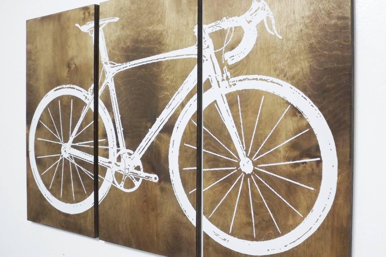 Road Bike / Street Bike Wall Art / Bicycle Screen Print / Wood Throughout Current Bike Wall Art (View 16 of 20)