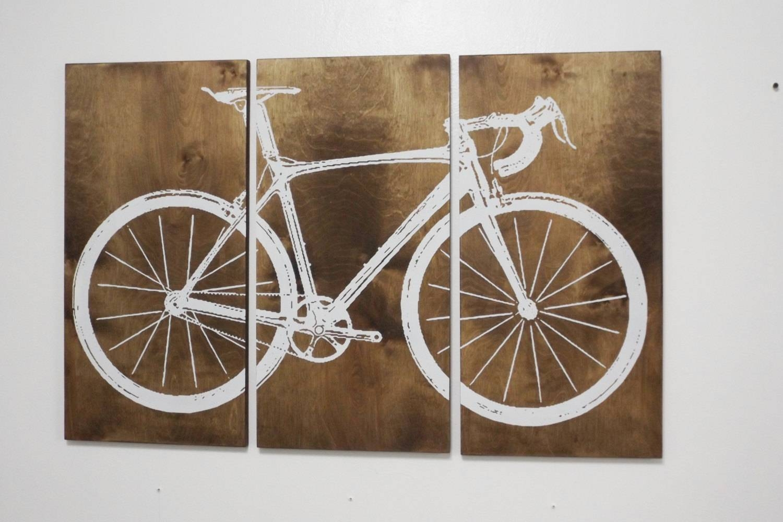 Road Bike / Street Bike Wall Art / Bicycle Screen Print / Wood With Current Bike Wall Art (View 4 of 20)