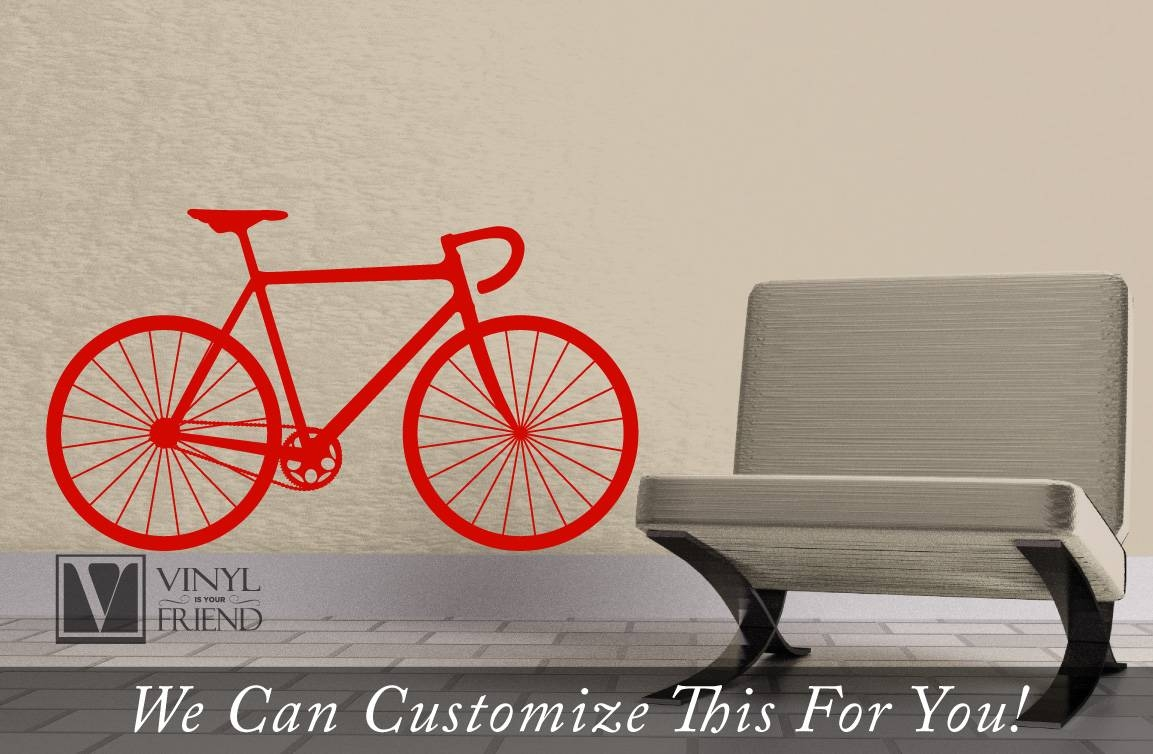 Road Race Bicycle Wall Vinyl Graphic Art A Sports Wall Decor For Pertaining To Latest Bicycle Wall Art Decor (Gallery 14 of 20)