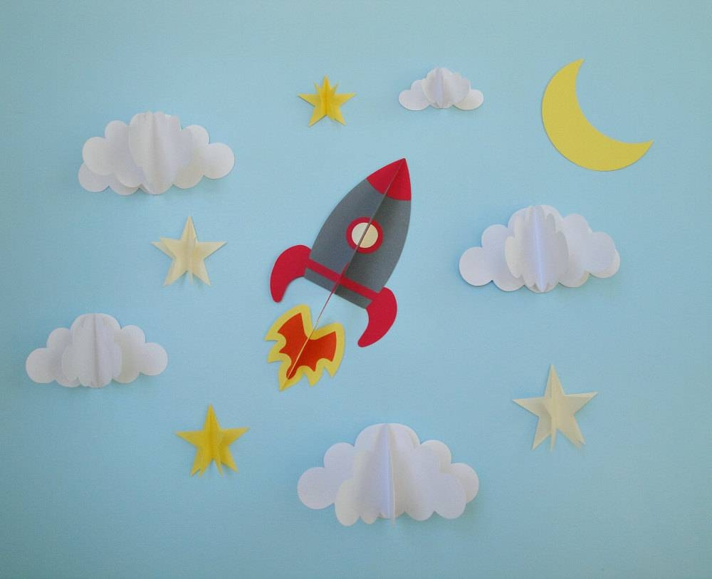 Rocket Ship 3D Wall Decals Wall Decor Wall Art Boy's With Regard To Newest 3D Paper Wall Art (Gallery 11 of 25)