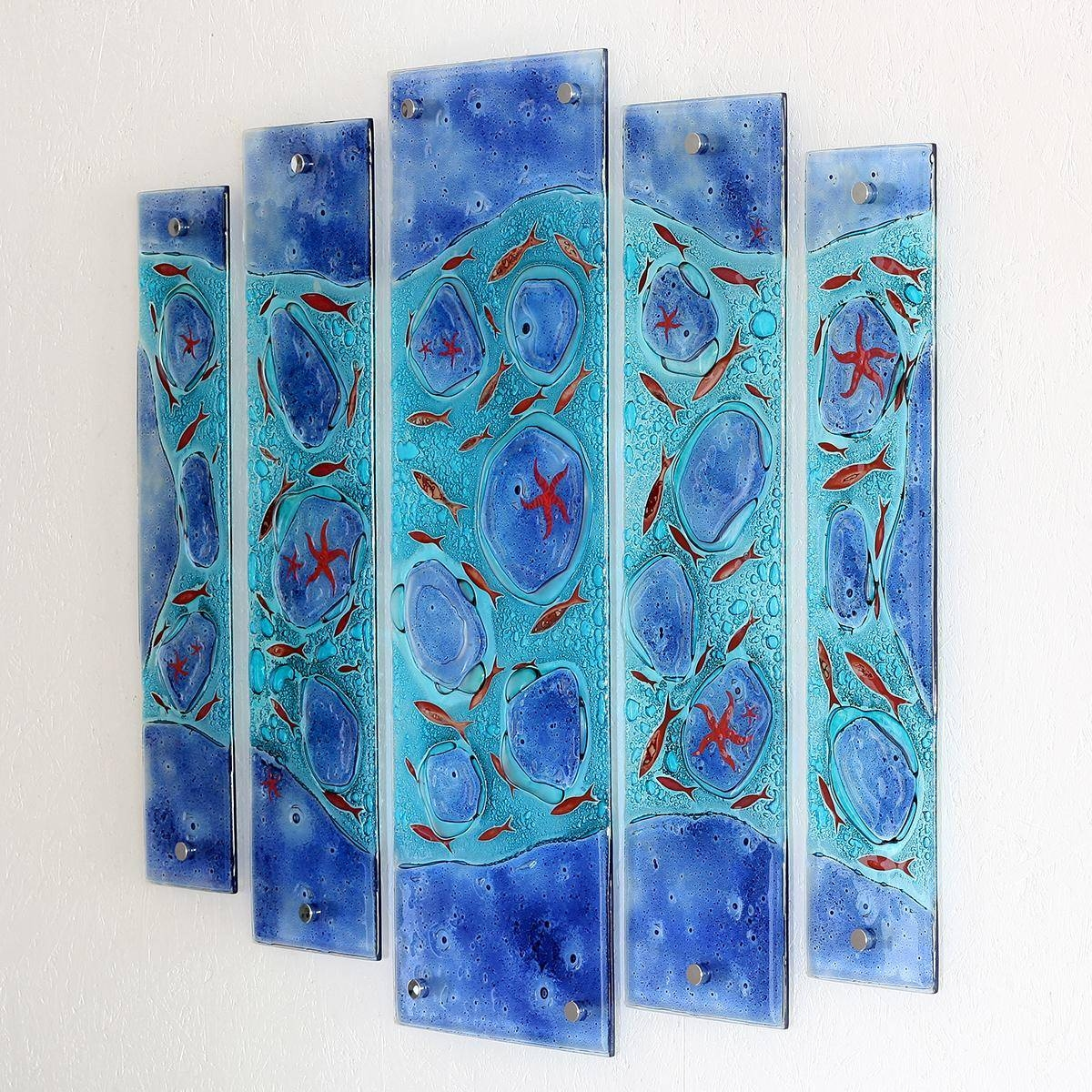 Rockpool Quintych Fused Glass Wall Artjo Downs – Jo Downs With Most Recent Fused Glass Wall Art (View 21 of 25)