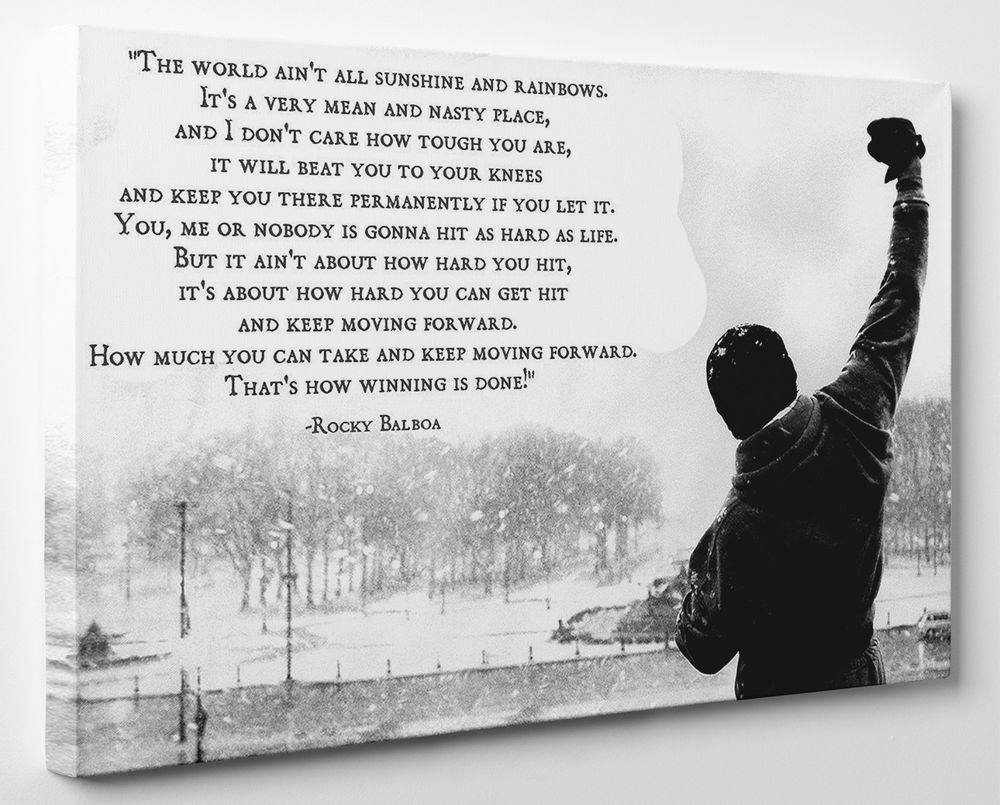 Rocky Balboa Inspirational Quote Canvas Print Wall Art Framed Regarding Newest Rocky Balboa Wall Art (Gallery 4 of 20)