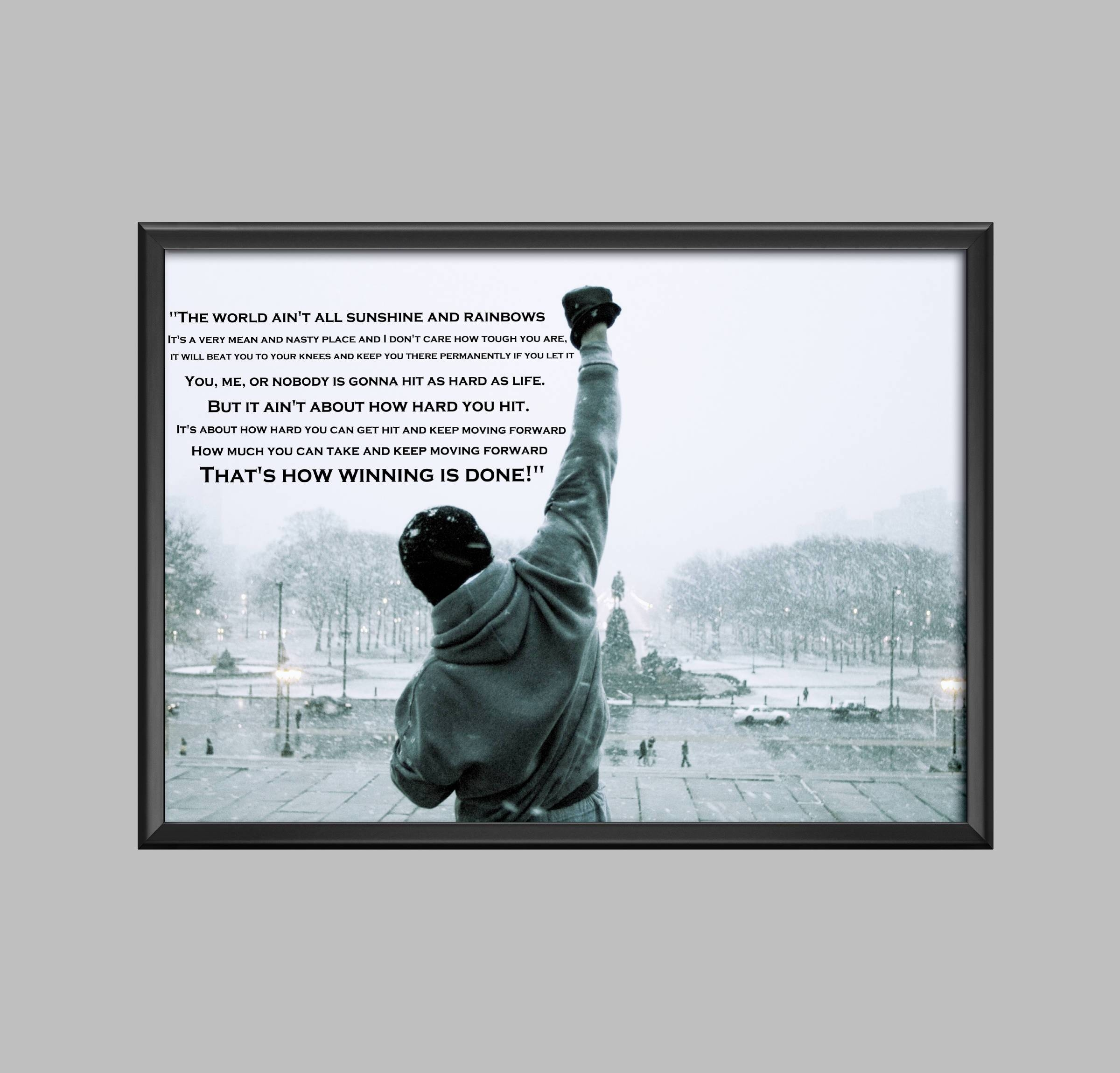Rocky Balboa Quote Poster Wall Art Picture Print A4 A3 A2 Inside Recent Rocky Balboa Wall Art (View 14 of 20)