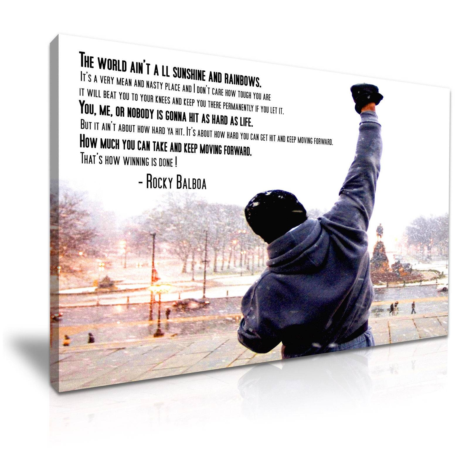 Rocky Balboa Quote Sylvester Stallone Pictures Canvas Wall Art Intended For Most Current Rocky Balboa Wall Art (View 15 of 20)