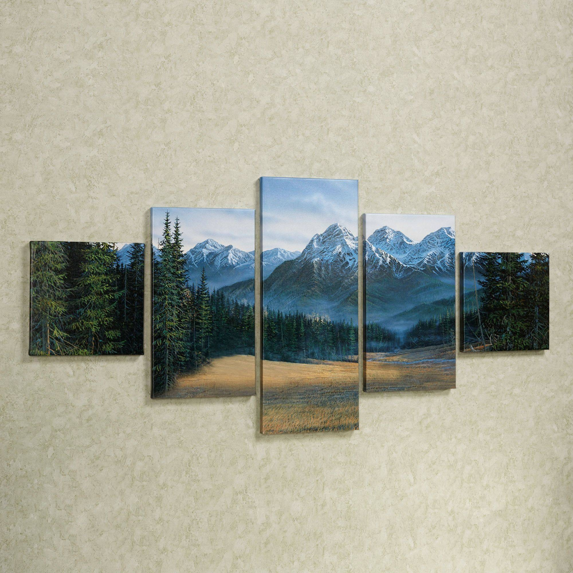 Rocky Mountain 5 Pc Canvas Wall Art Set With Regard To 2017 Multi Canvas Wall Art (Gallery 7 of 20)